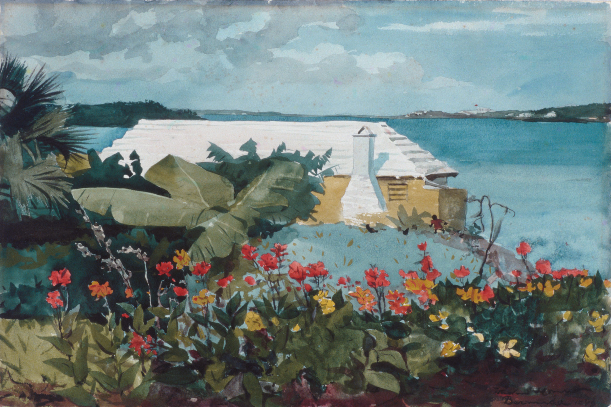 History of watercolor art -  Flower Garden And Bungalow