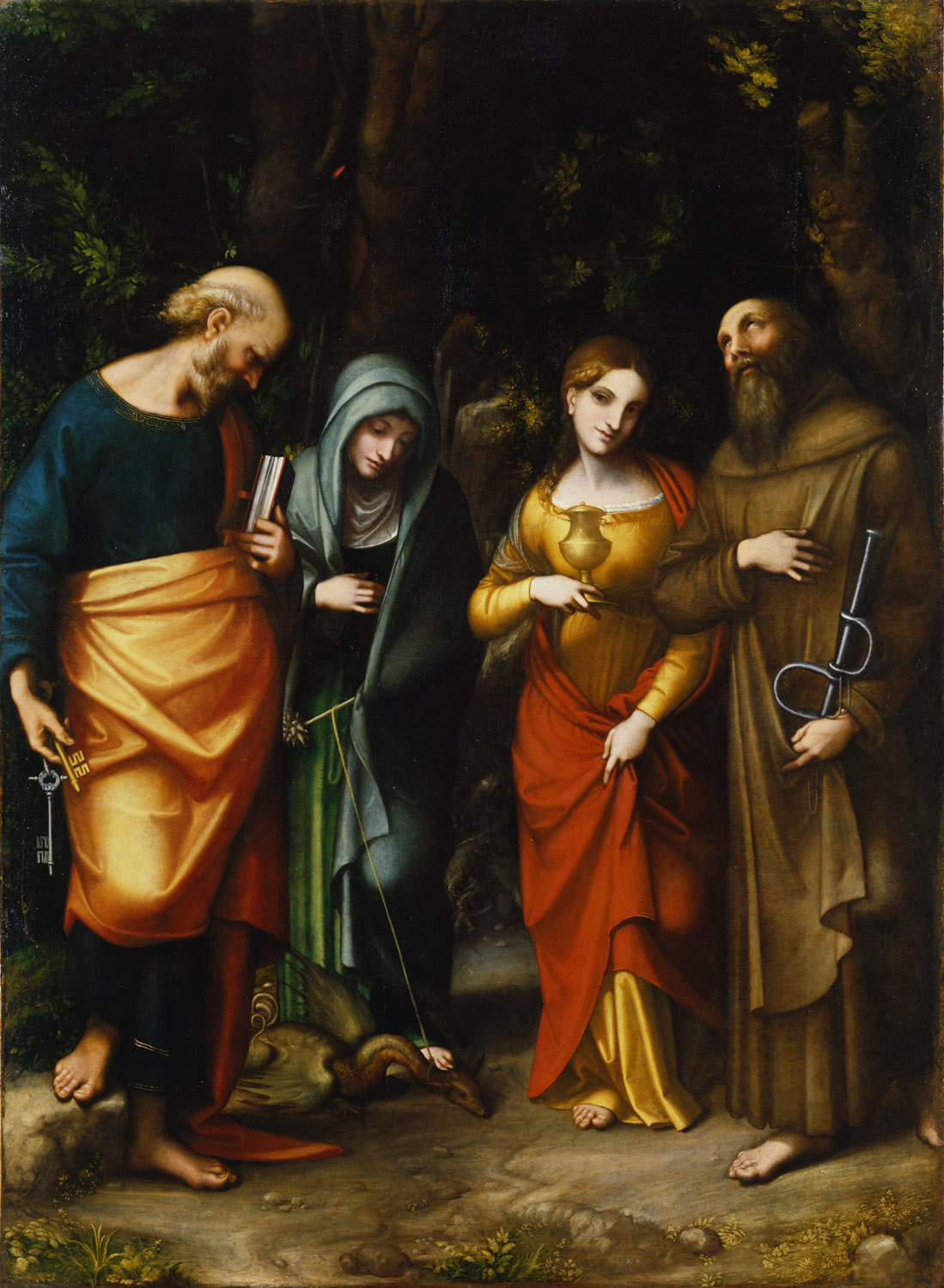 Saints Peter, Martha, Mary Magdalene, and Leonard