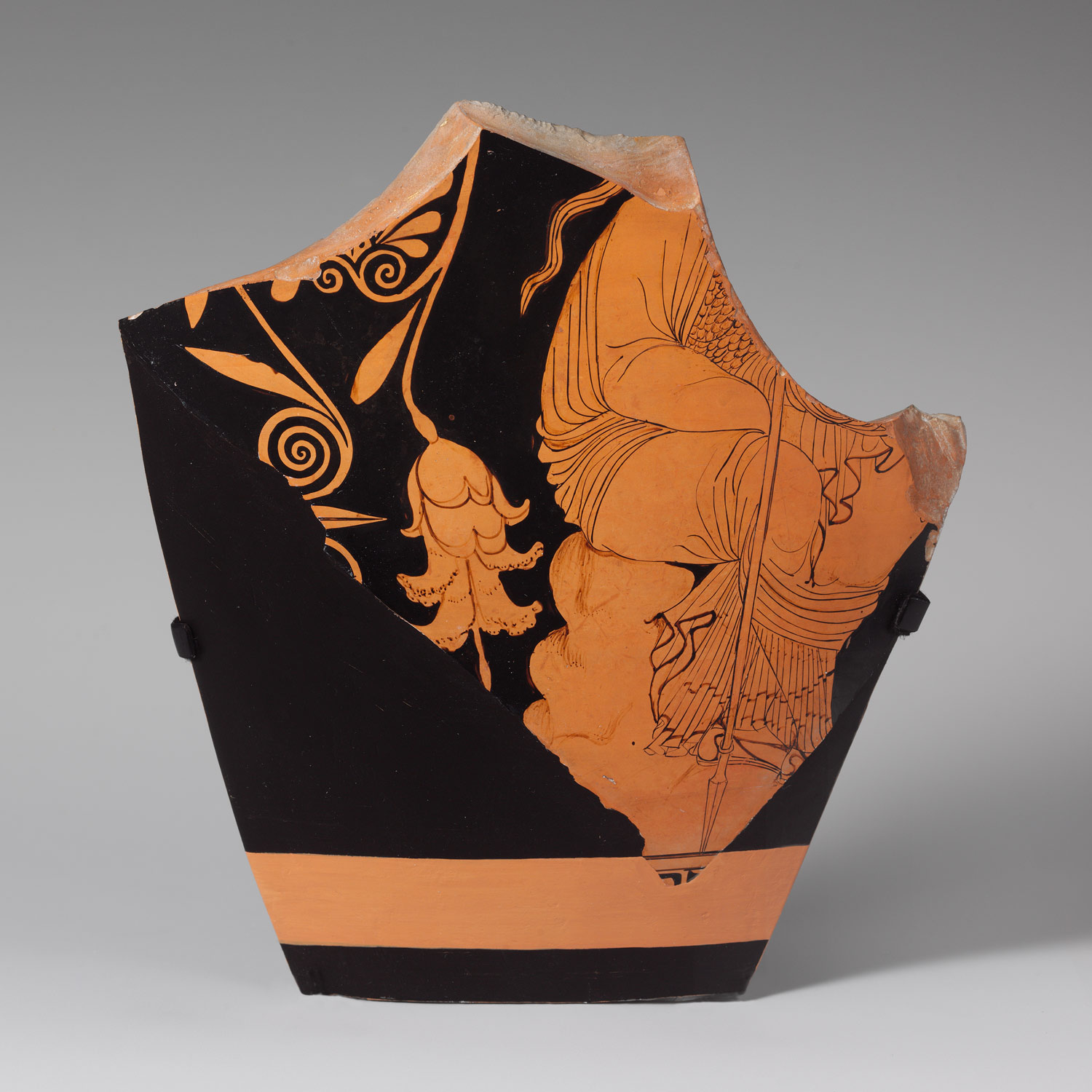Two fragments of a terracotta skyphos (deep drinking cup)