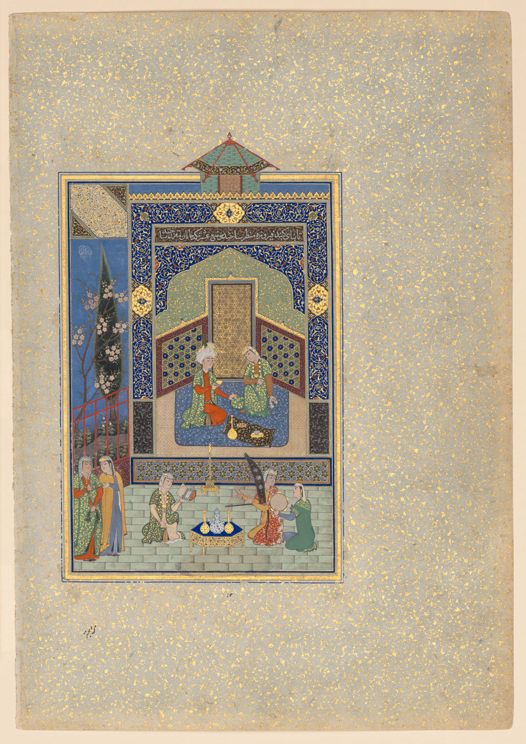 Bahram Gur in the Turquoise Palace on Wednesday, Folio 216 from a Khamsa (Quintet) of Nizami