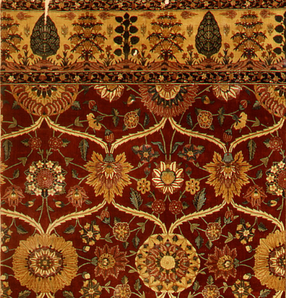 Fragments of a carpet with lattice and blossom pattern