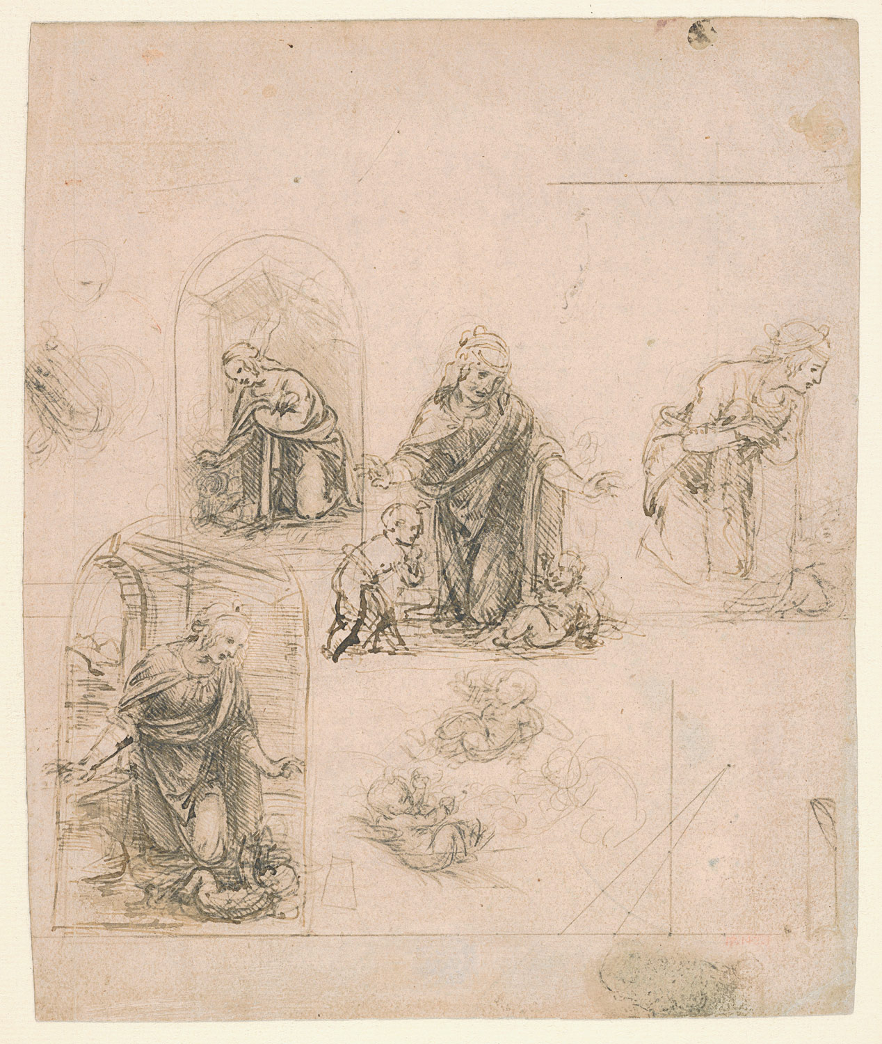 Studies for the Nativity (recto); Three Geometrical Diagrams and a Caricature of a Head (verso)