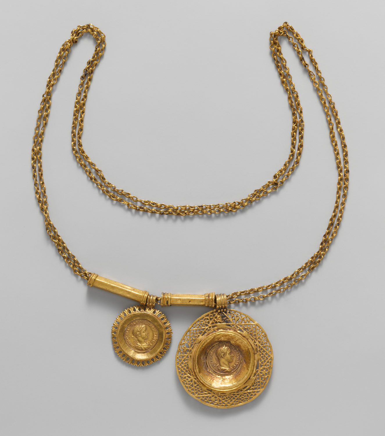 Gold necklace with coin pendants work of art heilbrunn gold necklace with coin pendants aloadofball Image collections