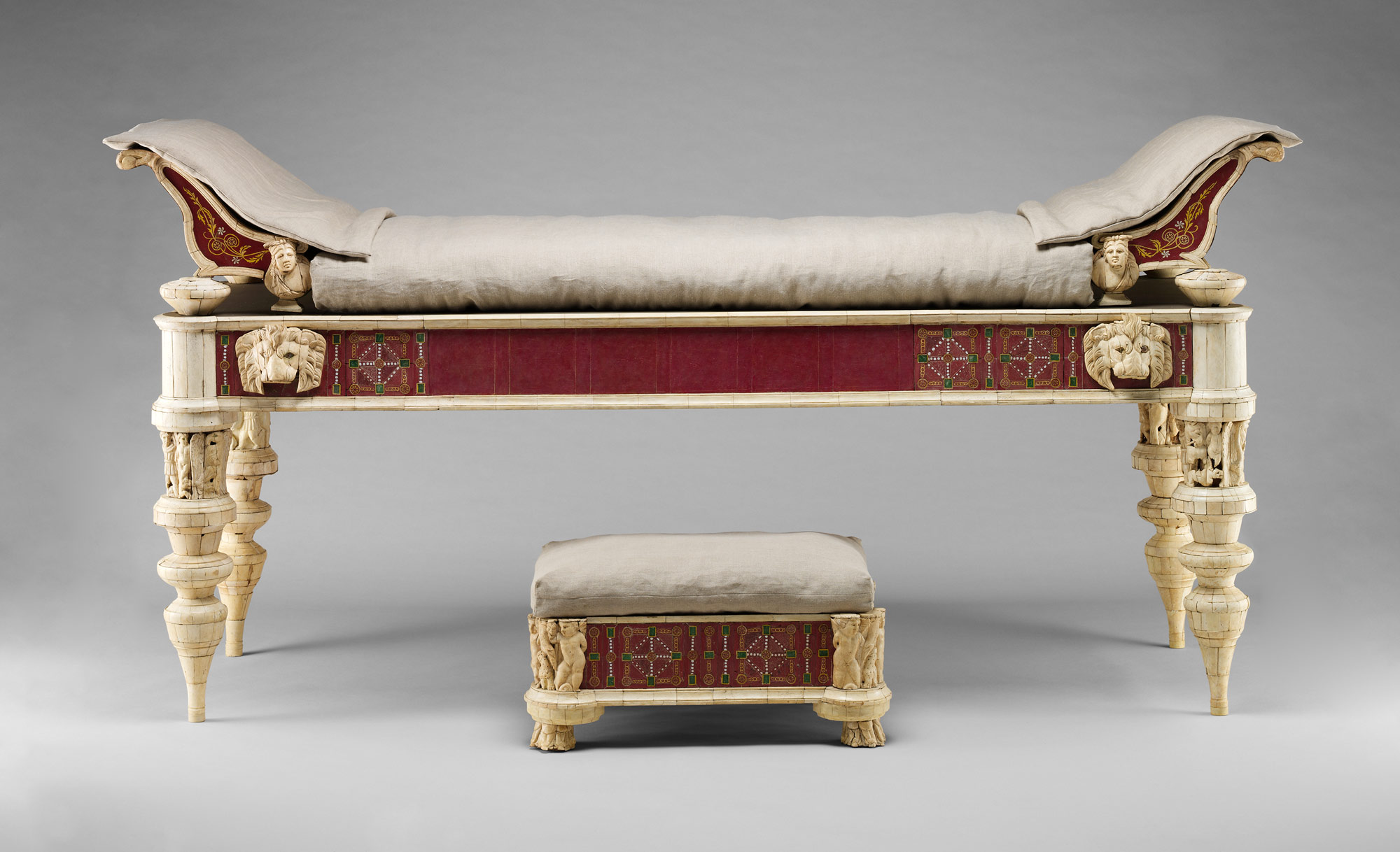 Ancient greece furniture -  Couch And Footstool With Bone Carvings And Glass Inlays