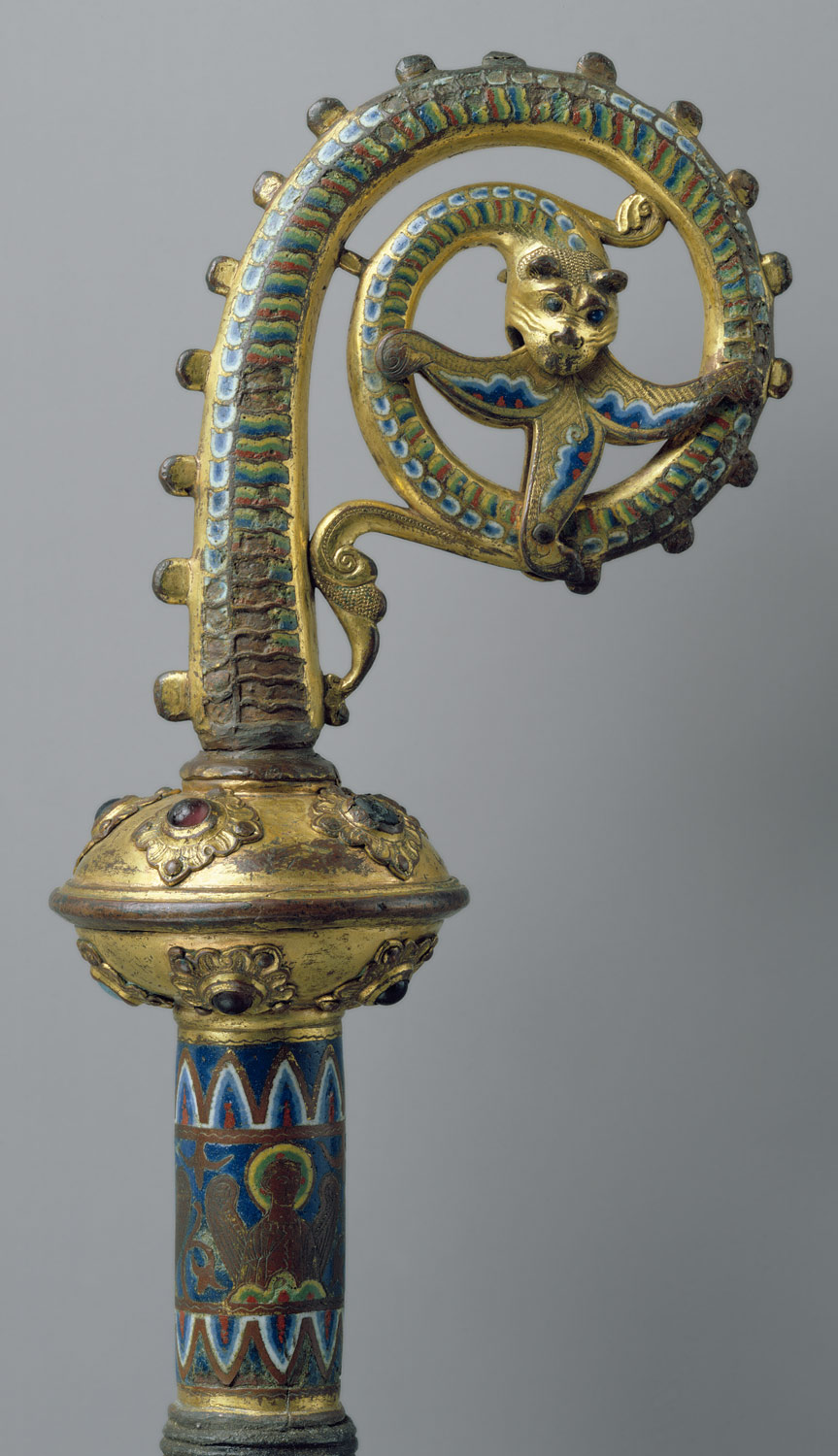 Head of a Crozier with a Serpent Devouring a Flower