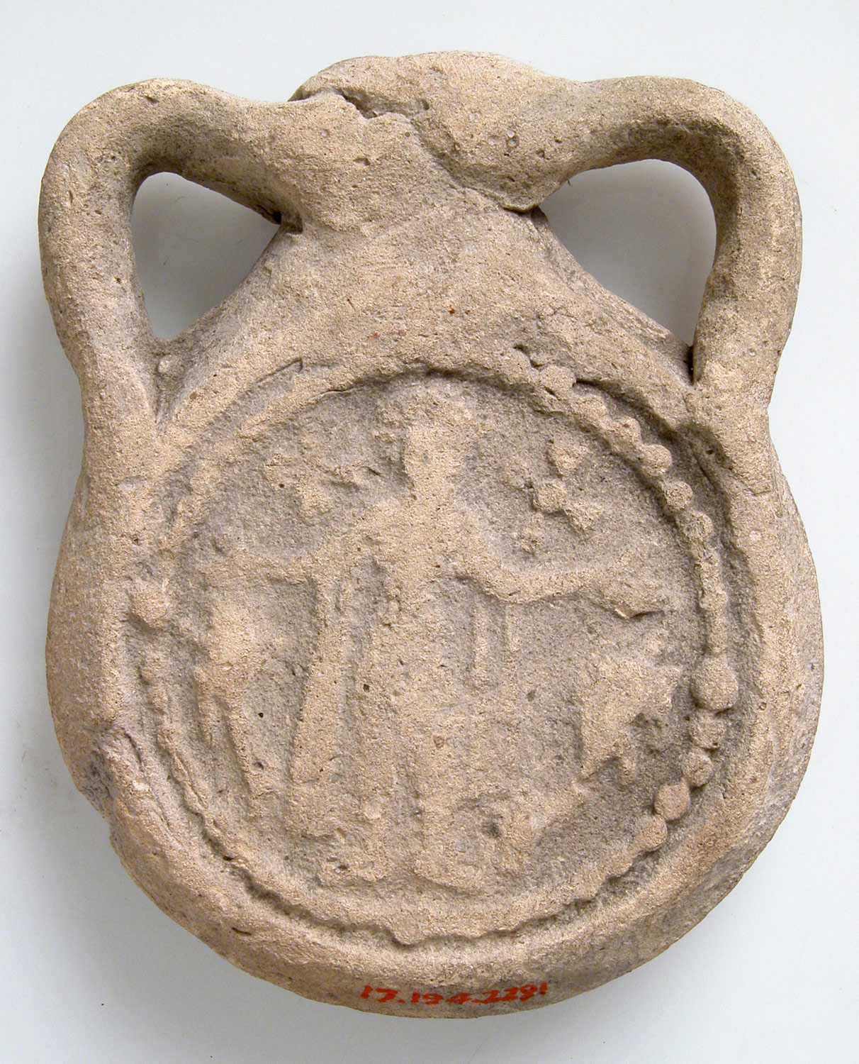 Earthenware Pilgrim Flask with Saint Menas