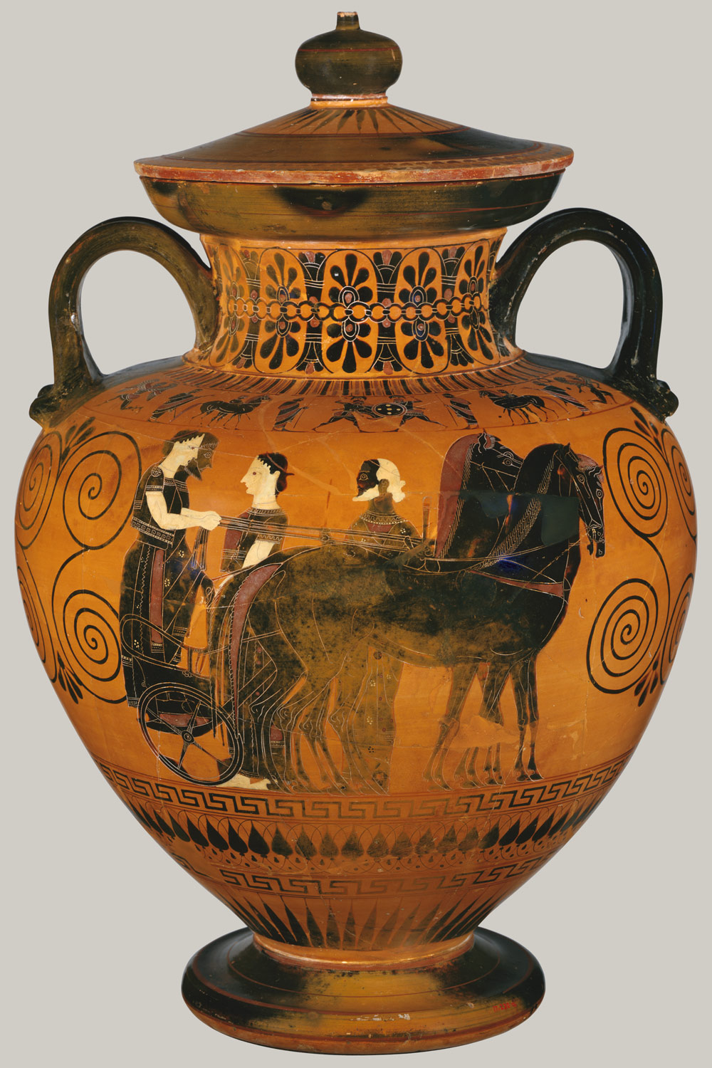 Terracotta Neck Amphora Jar With Lid And Knob 27 16