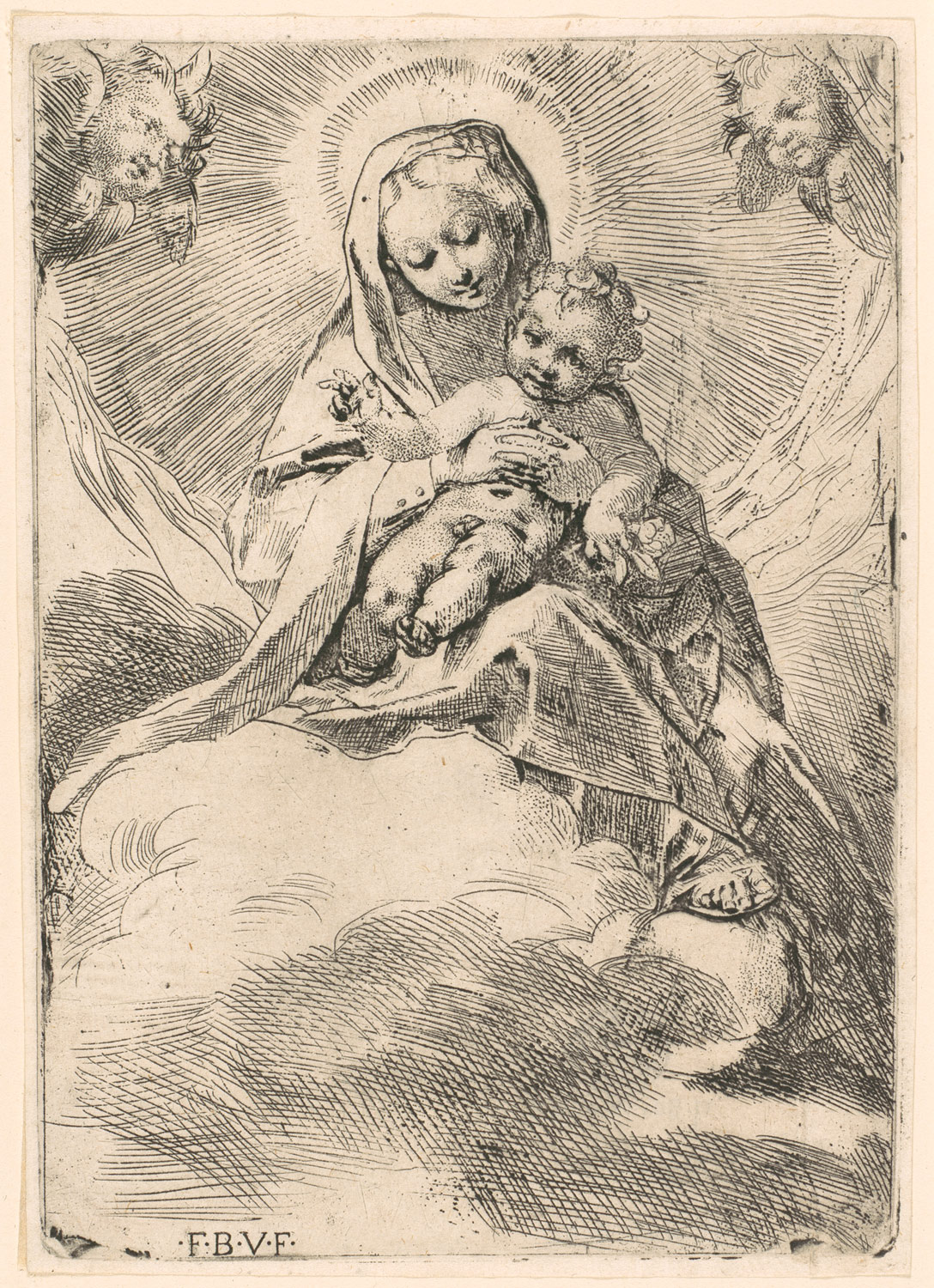 The Virgin seated on a cloud