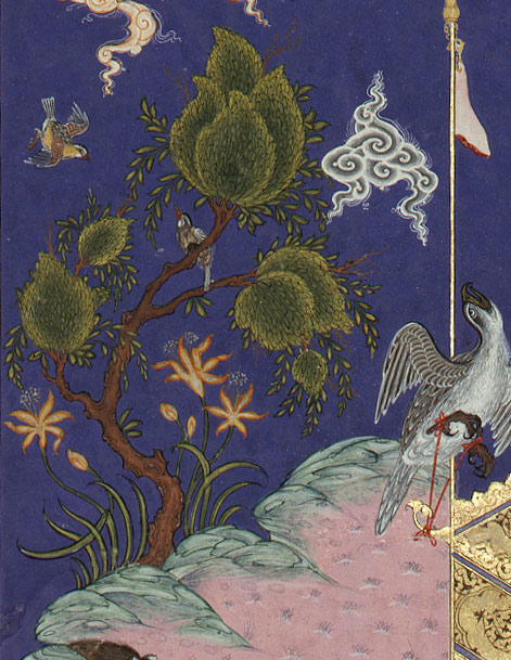 Kai Kavus Ascends to the Sky, Folio 134r from the Shahnama (Book of Kings) of Shah Tahmasp