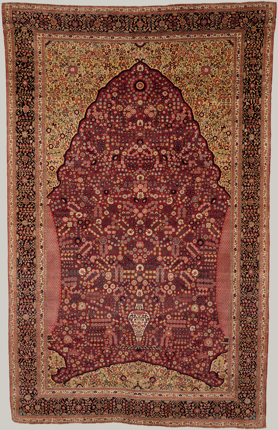 Pashmina Carpet With Gateway And Millefleur Pattern