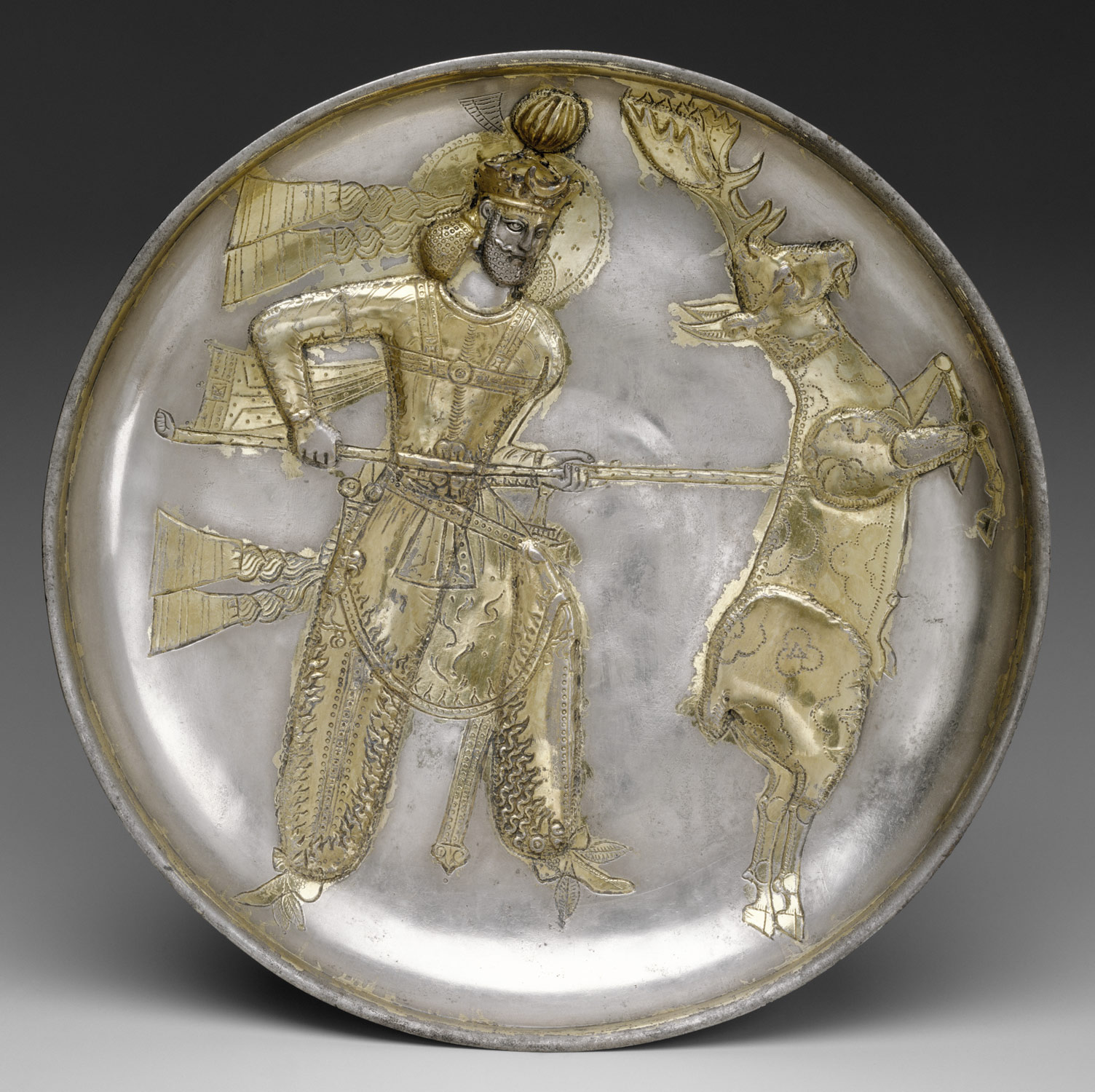 Plate: the king Yazdgard I, slaying a stag