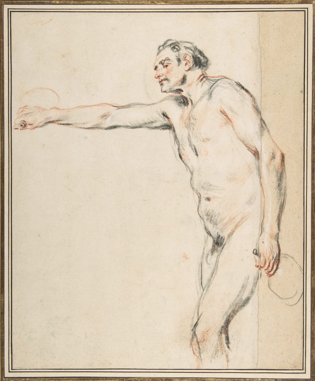 Study of a Nude Man Holding Bottles