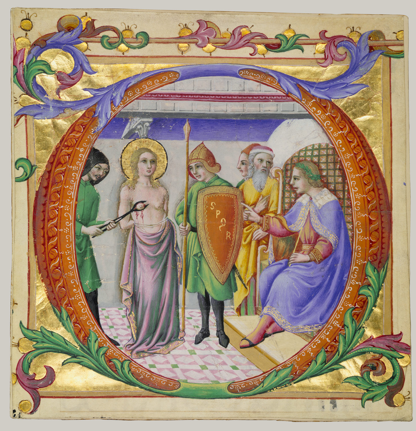 Martyrdom of Saint Agatha in an Initial D