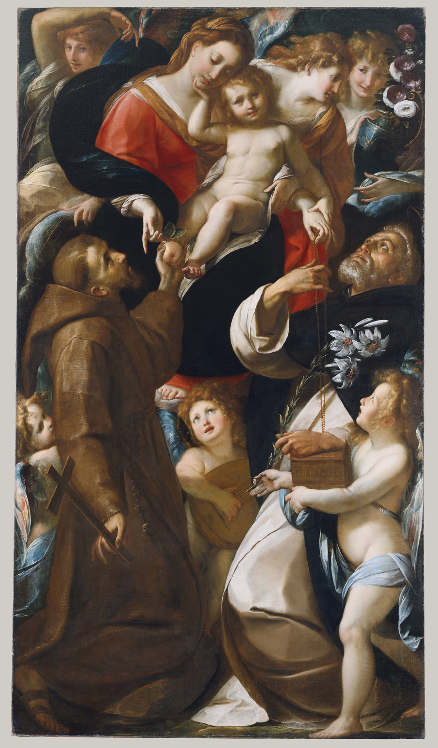 Madonna and Child with Saints Francis and Dominic and Angels