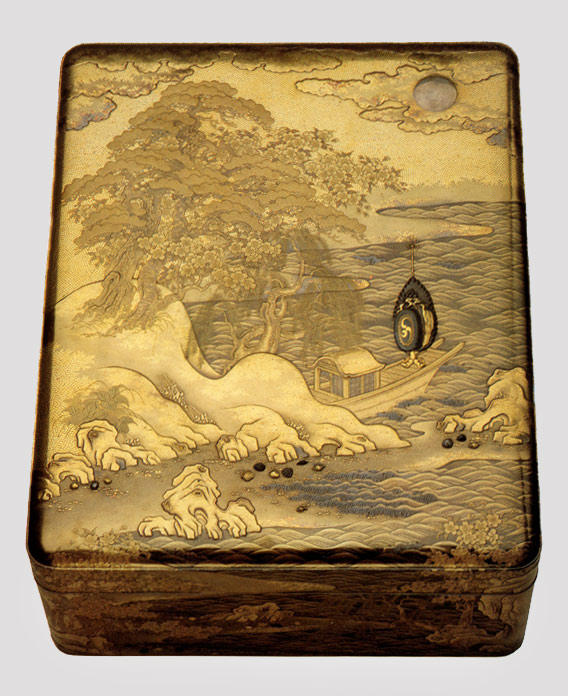 Document box with scene from the Butterflies Chapter of the Tale of Genji