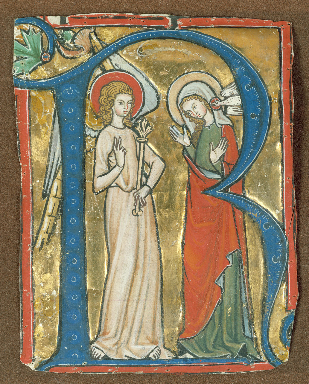 Manuscript Illumination With The Annunciation In An