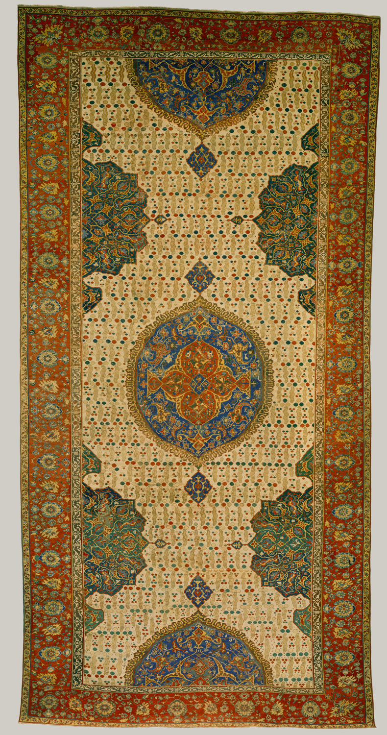 Ushak Medallion Carpet on White Ground