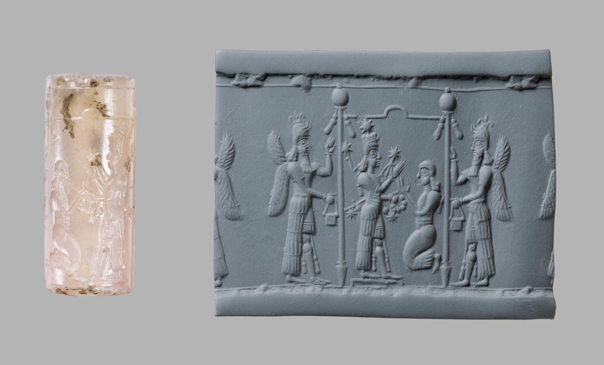Cylinder seal and modern impression: Ishtar image and a worshipper below a canopy flanked by winged genies