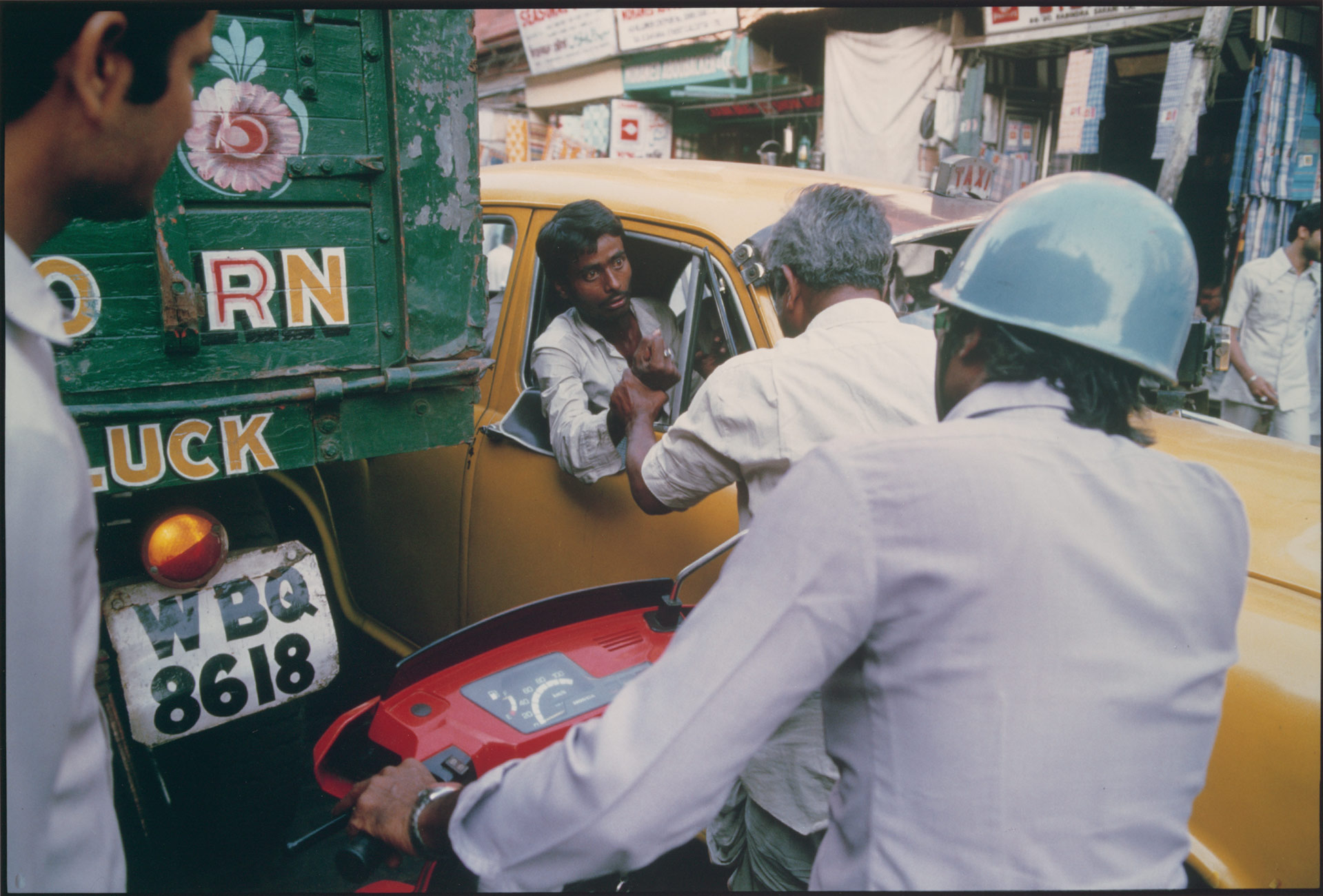 Taxi Driver and Pedestrian Argue, Chitpur Road, Calcutta