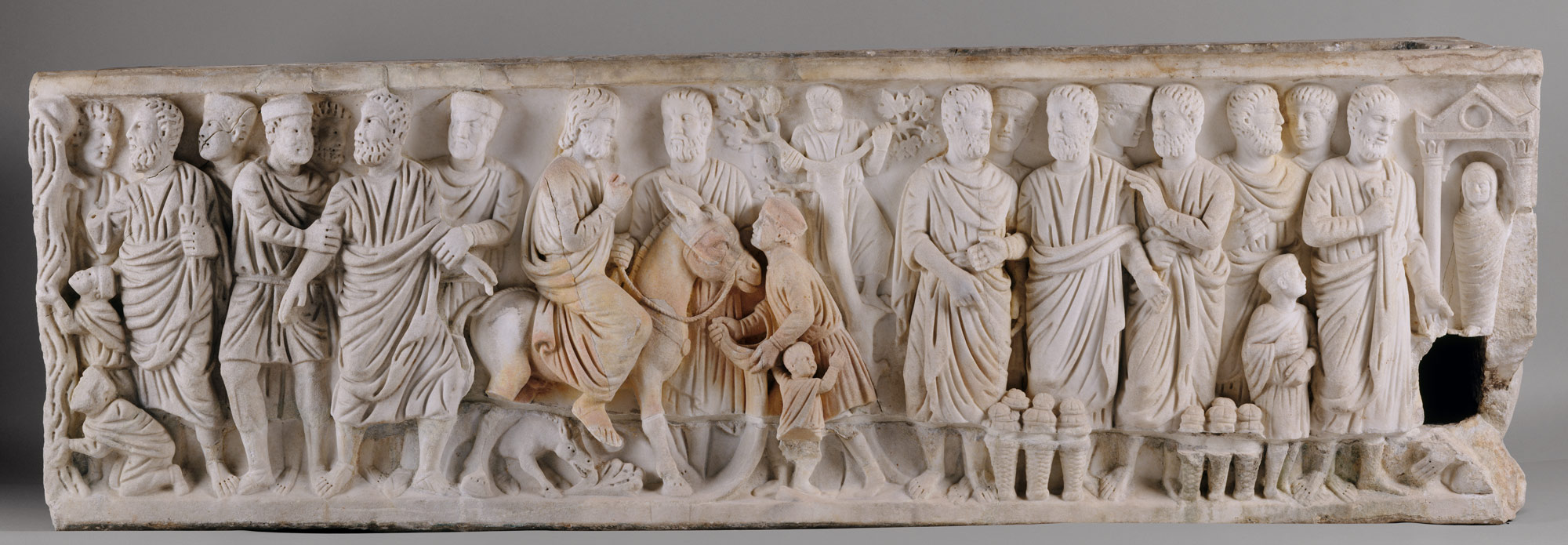 Image result for This marble sarcophagus (Sarcophagus with Scenes from the Lives of Saint Peter and Christ)