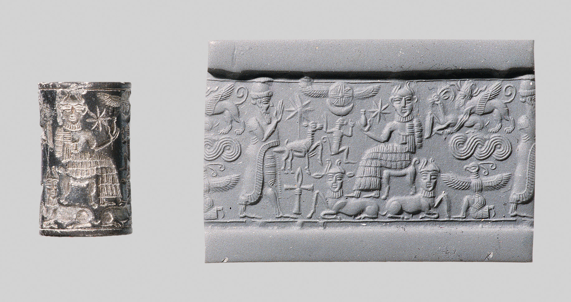Cylinder seal and modern impression: worshipper approaching bearded god