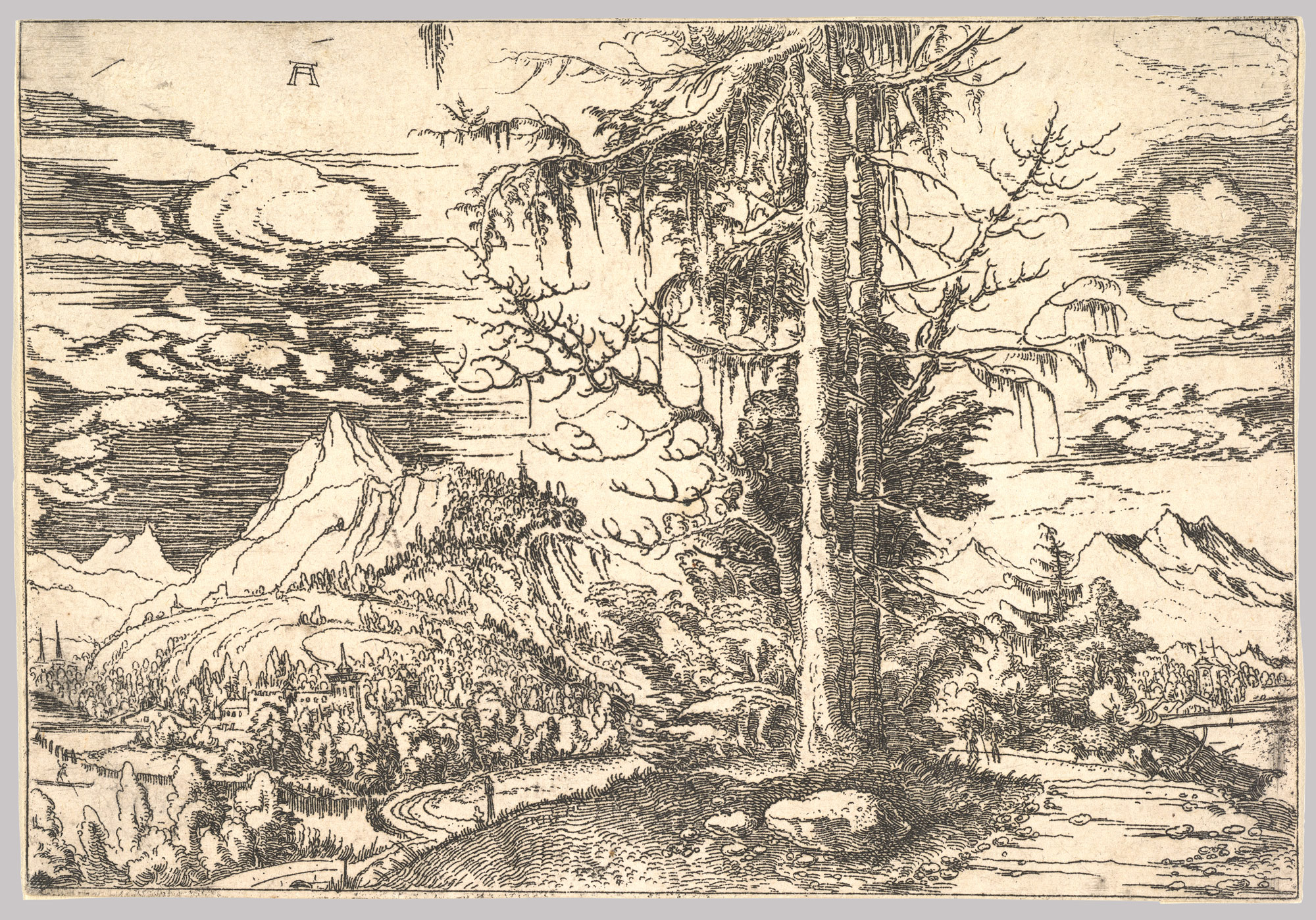 Landscape with a Double Spruce in the Foreground