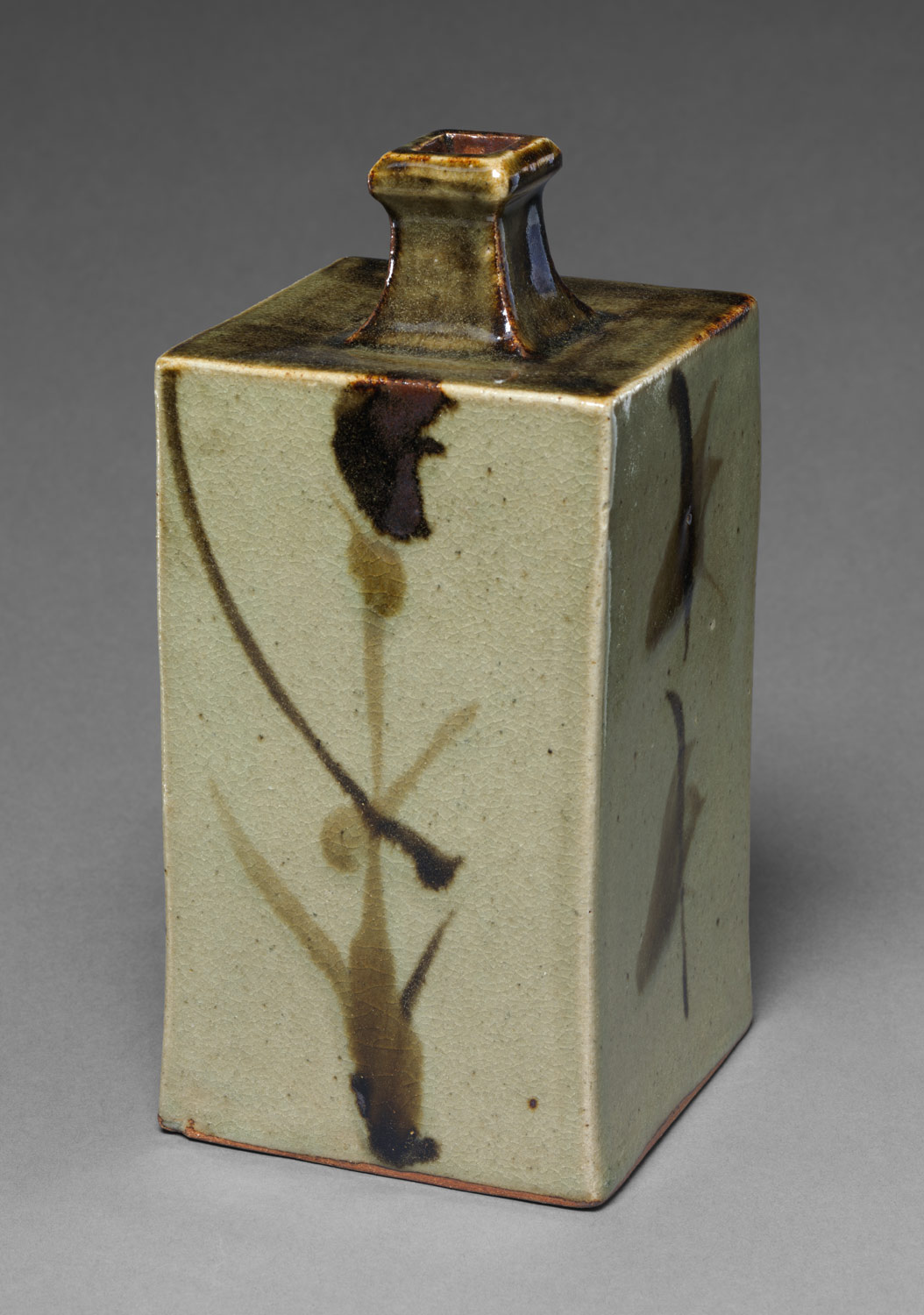 Bottle with Abstract Orchids