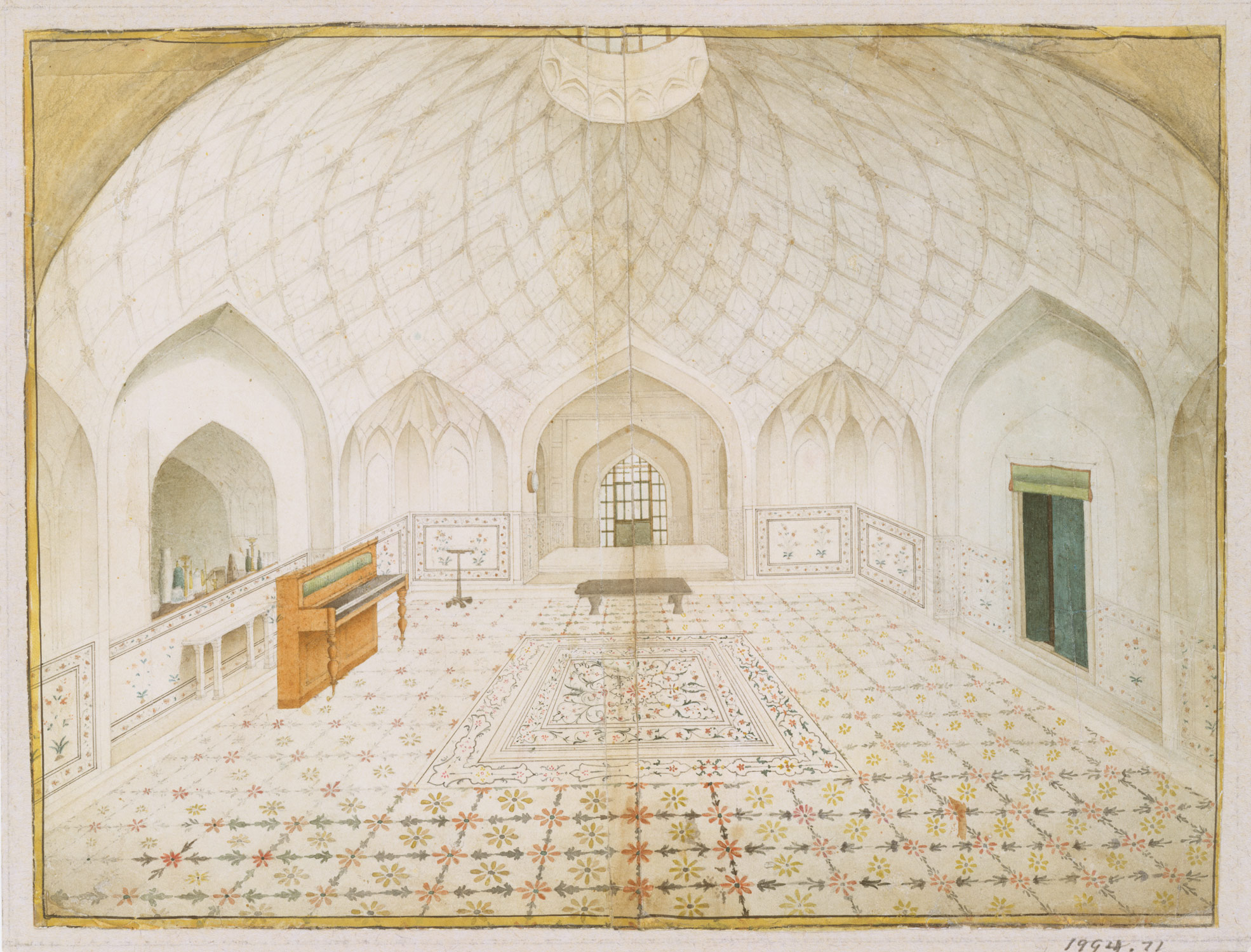 Interior of the Hammam at the Red Fort, Delhi, Furnished According to English Taste