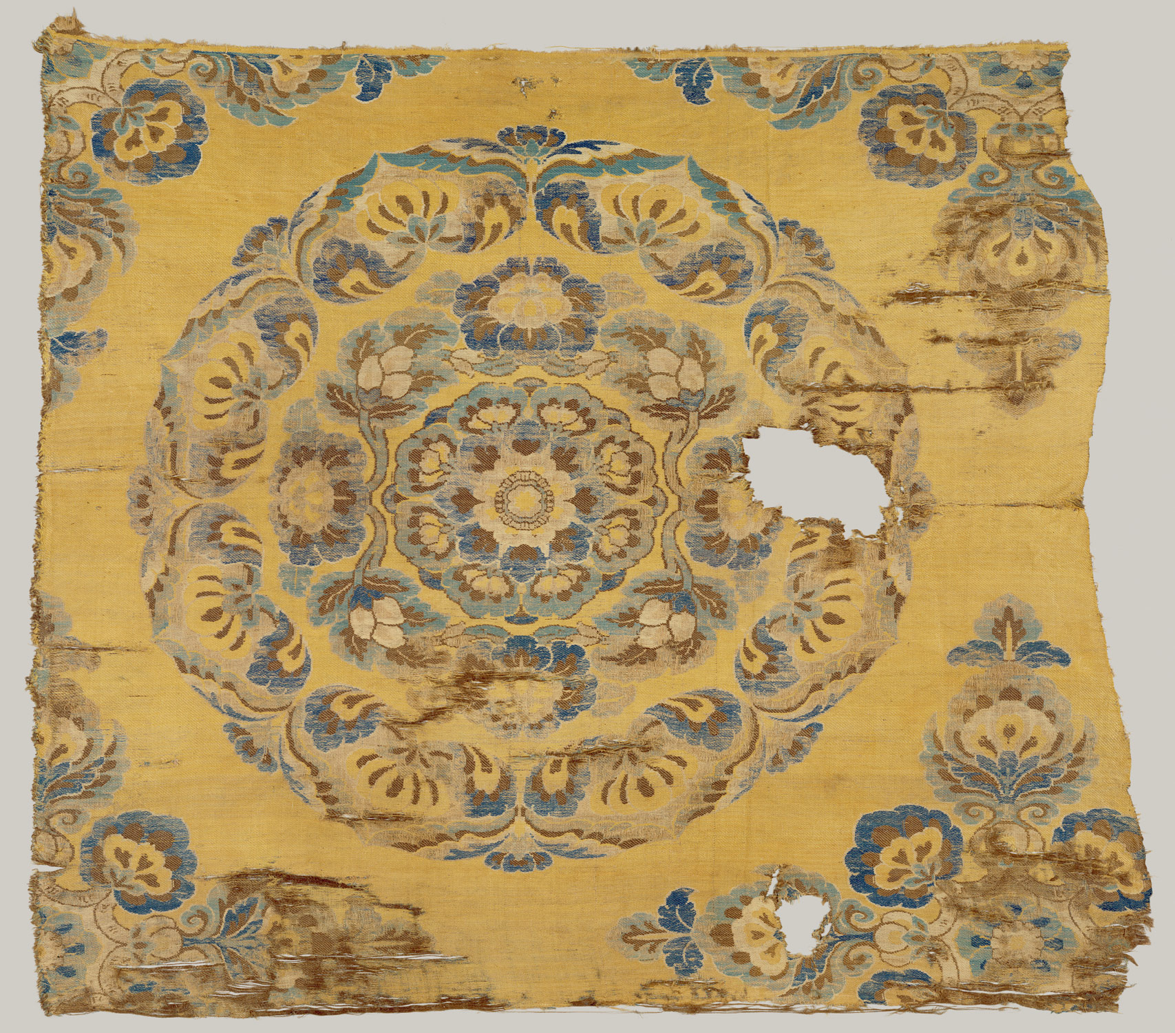 China 5001000 ad chronology heilbrunn timeline of art textile with floral medallion biocorpaavc Choice Image