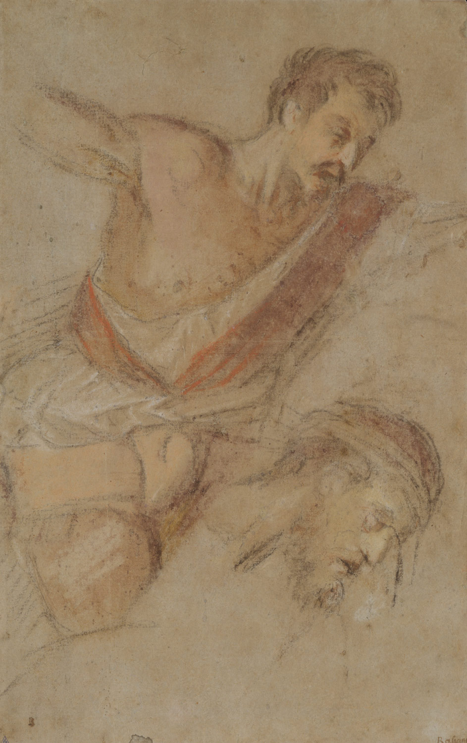 Studies for a Scourging Soldier and the Head of Christ