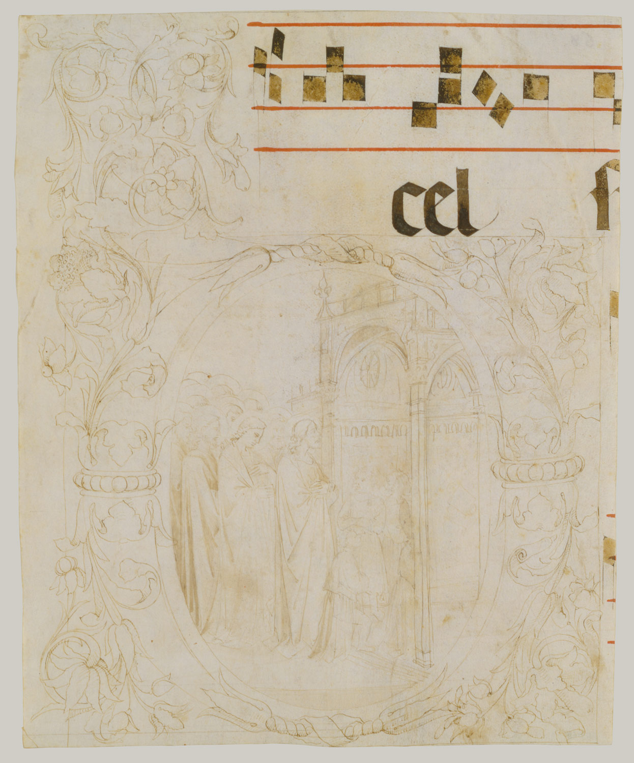 Jesus Entering the Temple in a Letter D