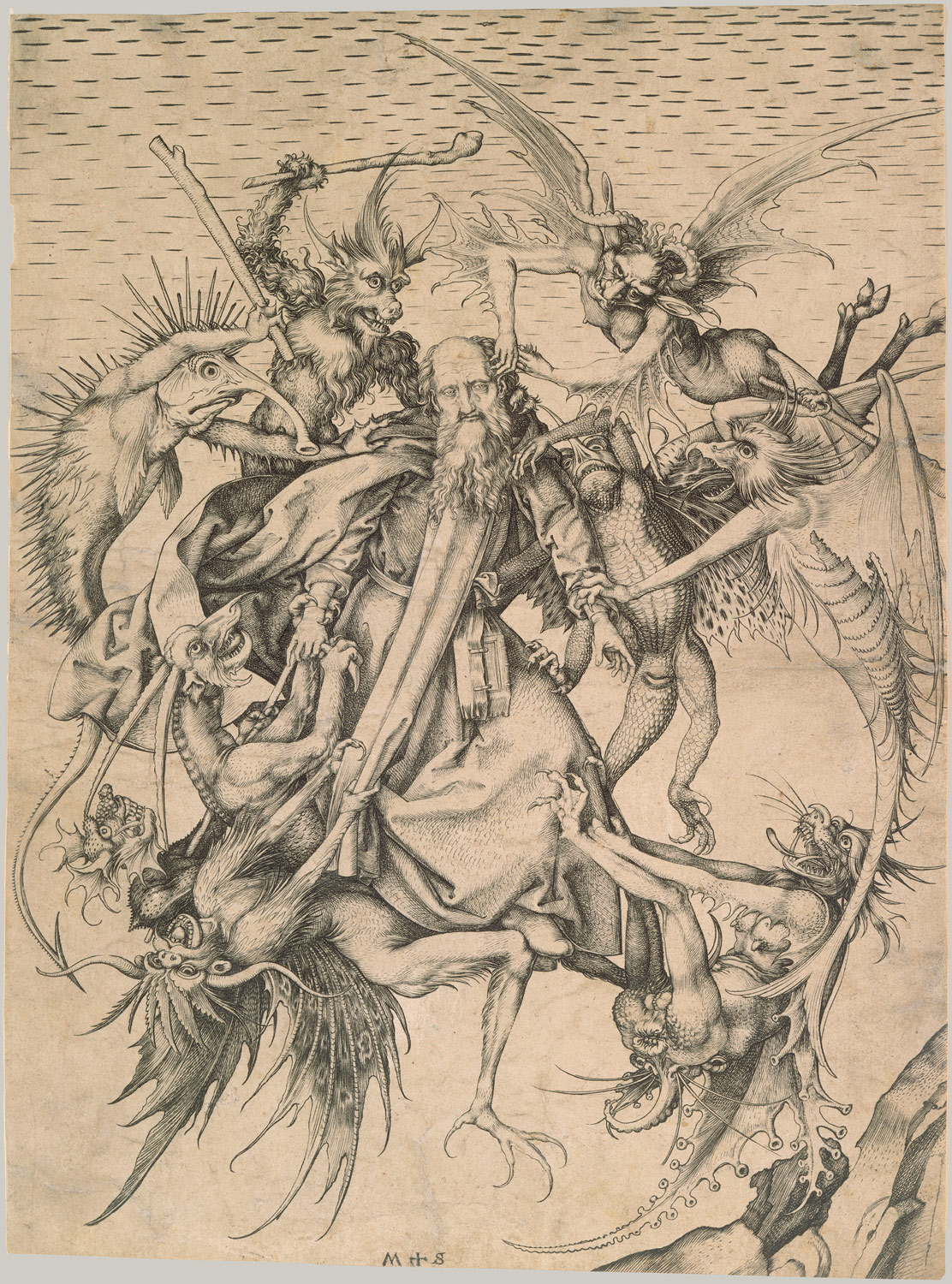 Saint Anthony Tormented by Demons, ca. 1470–75. Engraving by Martin Schongauer (German, ca. 1445–1491)