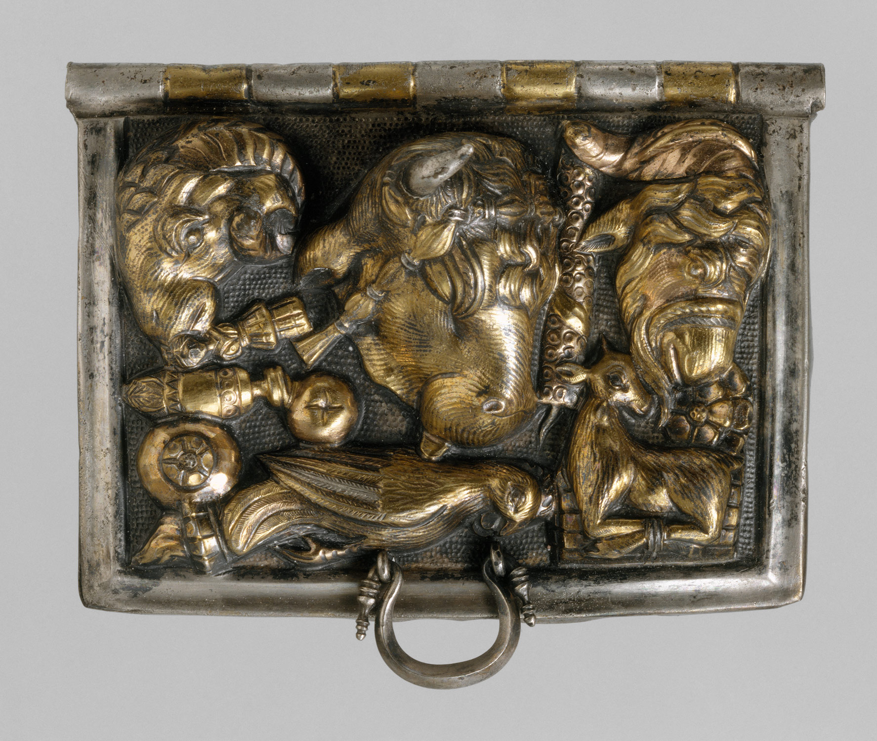 Gilt-silver ceremonial box lid