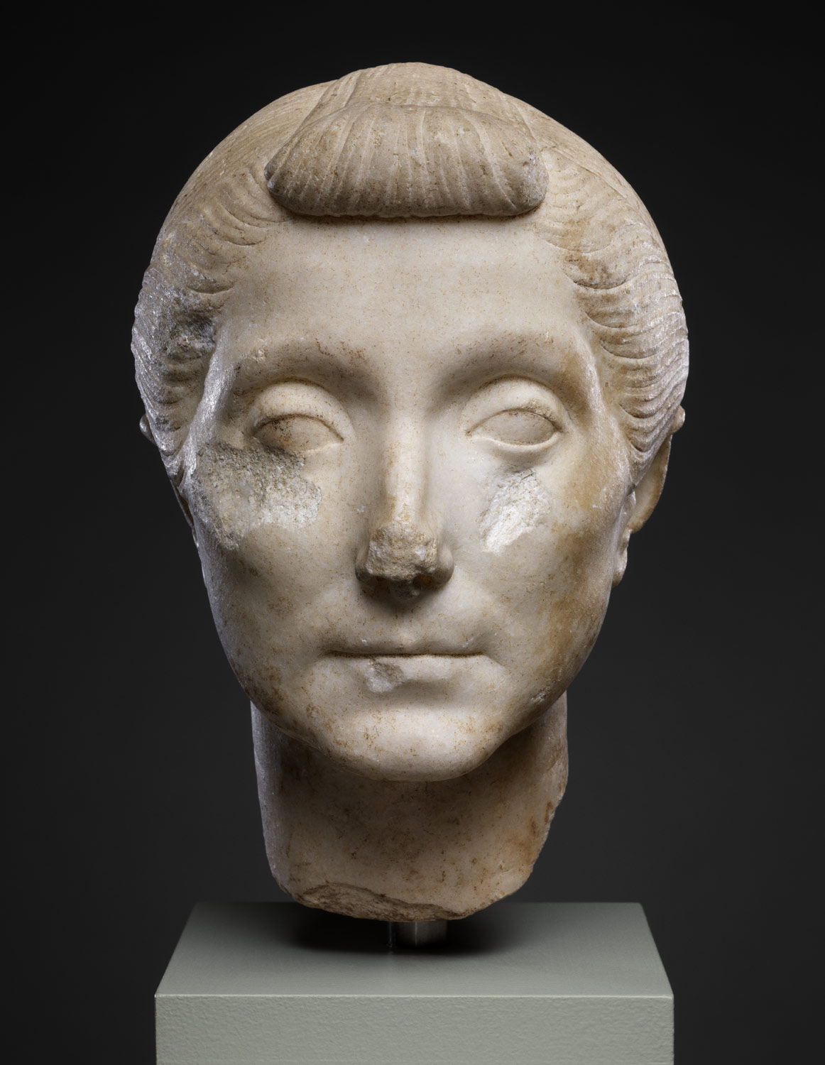 Marble head of an elderly woman