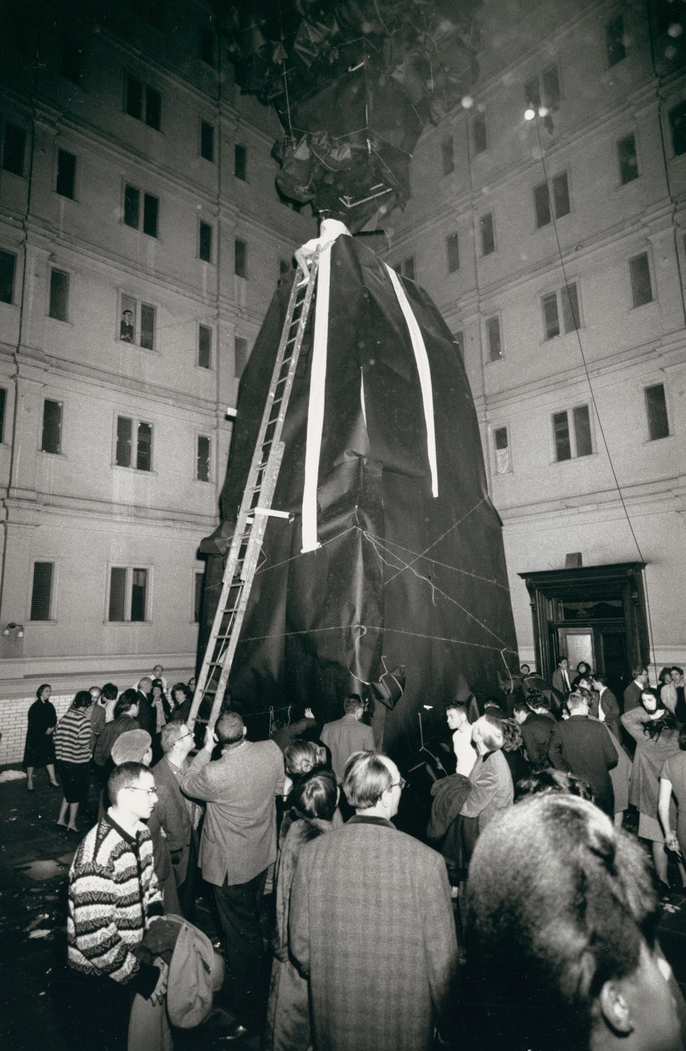 [Lette Eisenhauer Descending from Giant Mountain Construction, After Performance of The Courtyard, A Happening by Allan Kaprow, New York City]