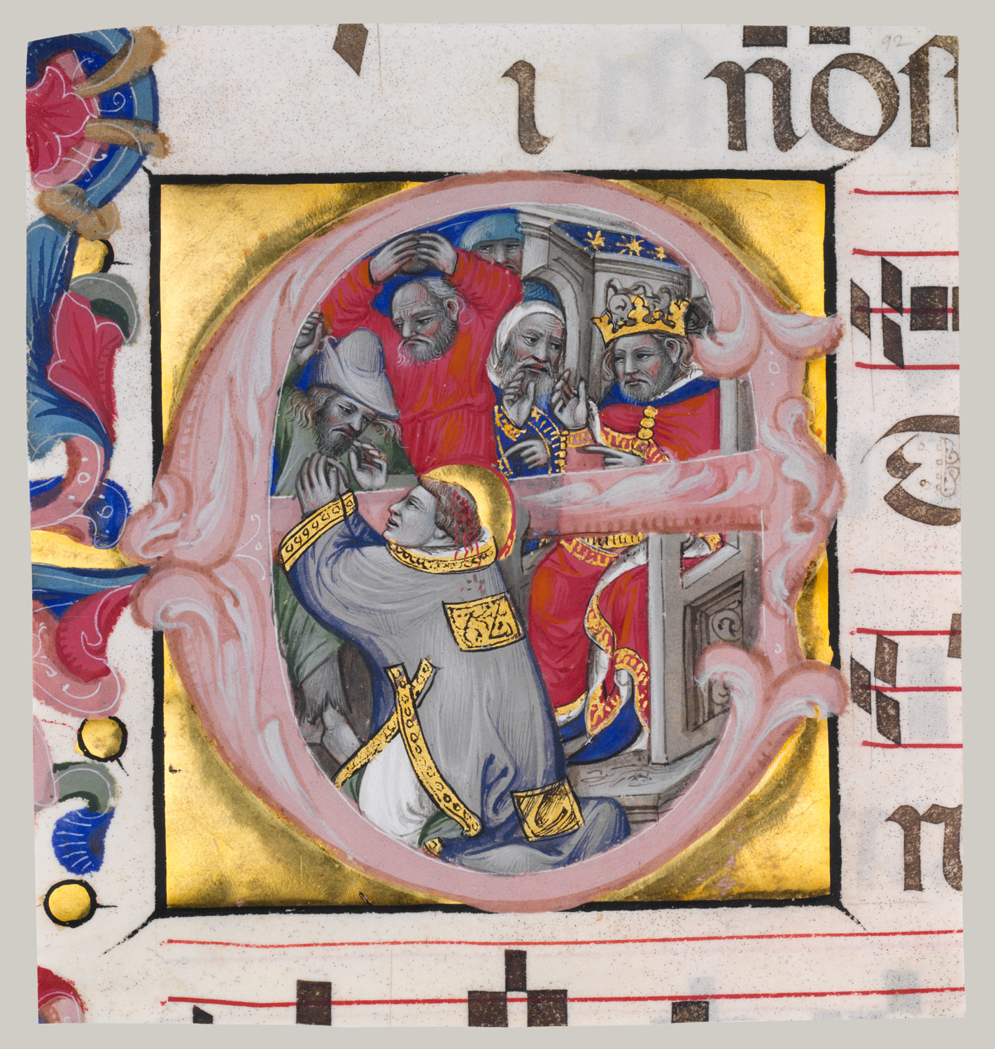 Manuscript Illumination with the Martyrdom of Saint Stephen in an Initial E, from a Gradual