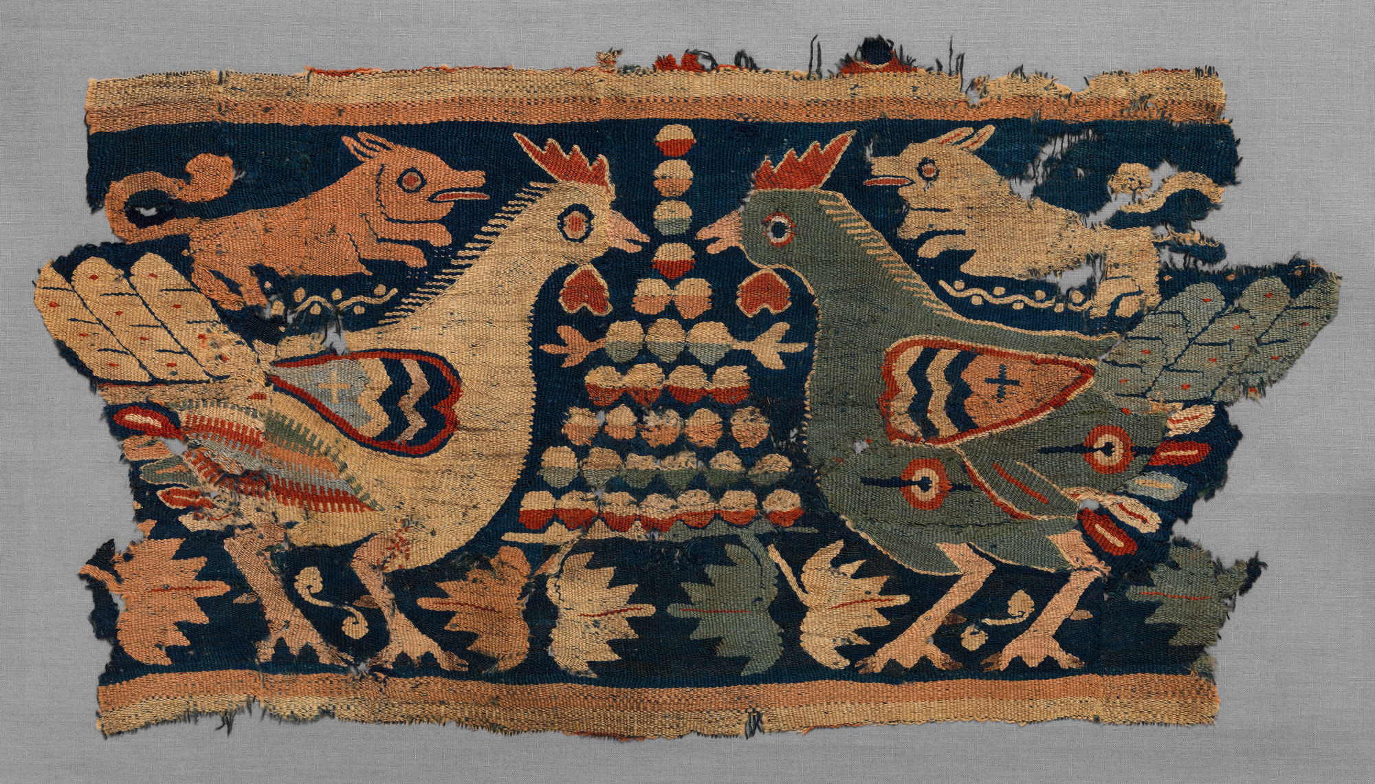Fragment of Wall Hanging with confronted cocks and running dogs