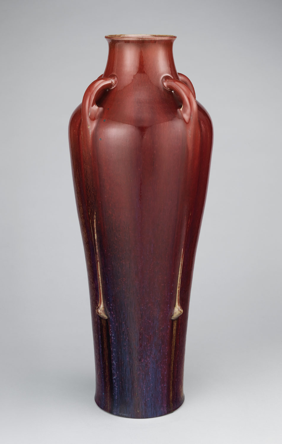 Tall vase with four handles