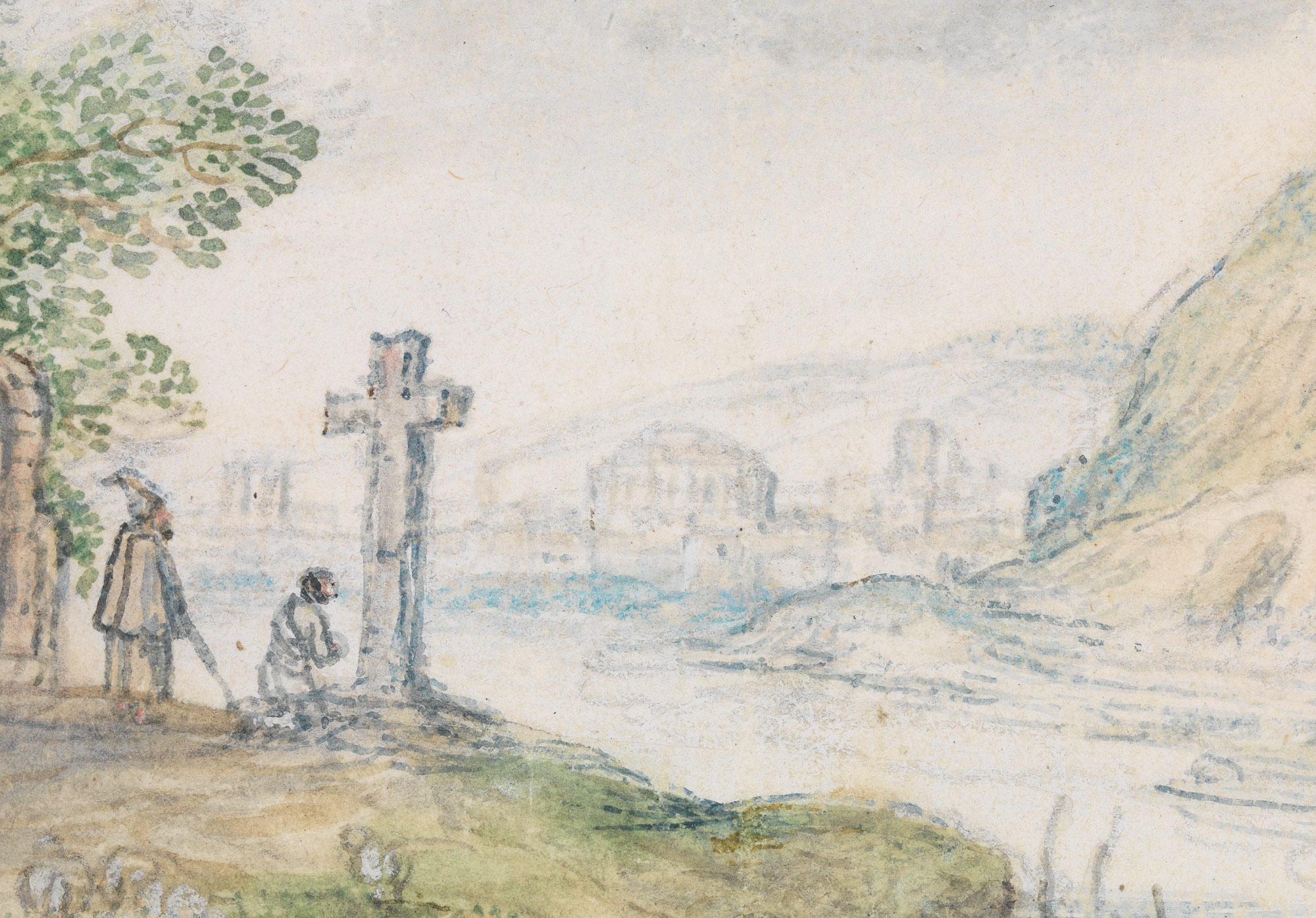 A Wooded River Landscape with a Church and Figures