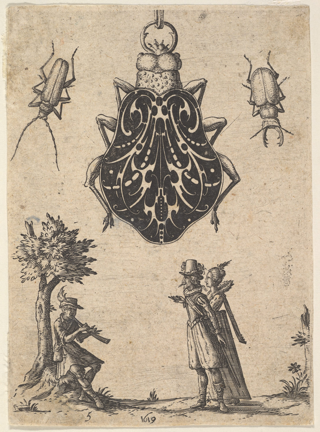 Pendant Shaped like a Beetle with a Couple and a Young Man Playing an Instrument