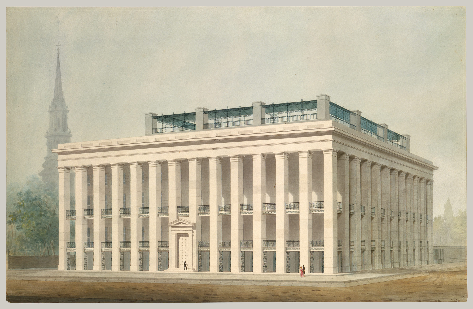 Proposal for Astor House (Park Hotel), New York (perspective)