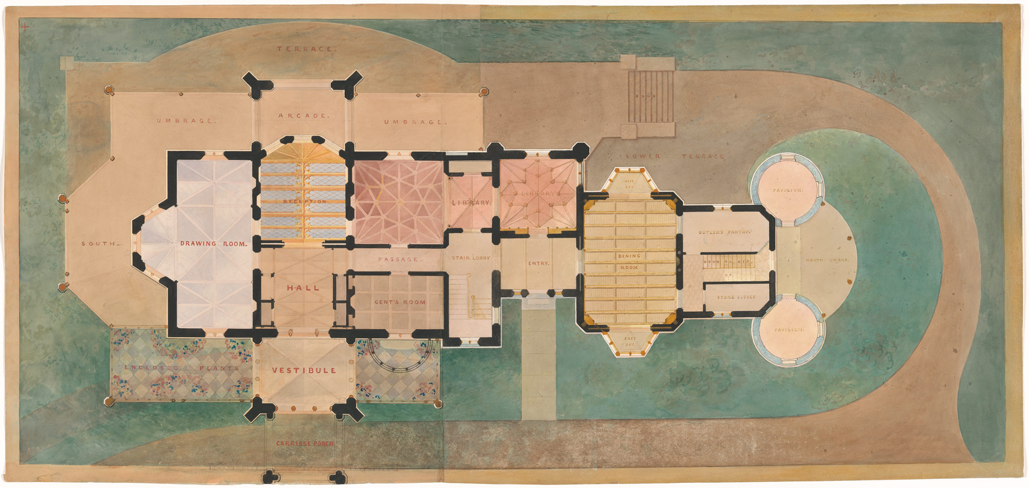 Lyndhurst for George Merritt, Tarrytown, New York (first floor plan)