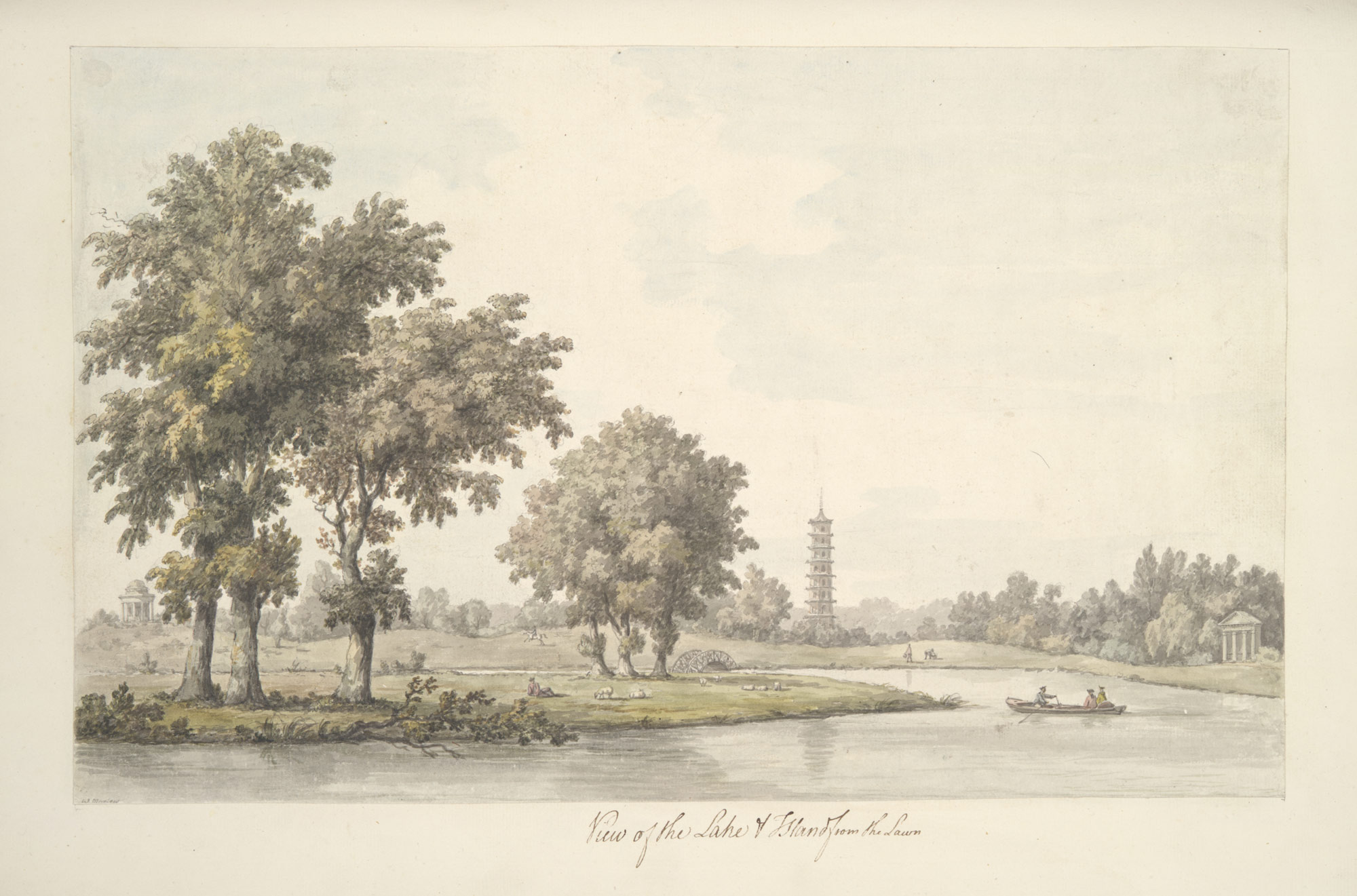 View of the Lake and the Island from the Lawn at Kew (plate 38)