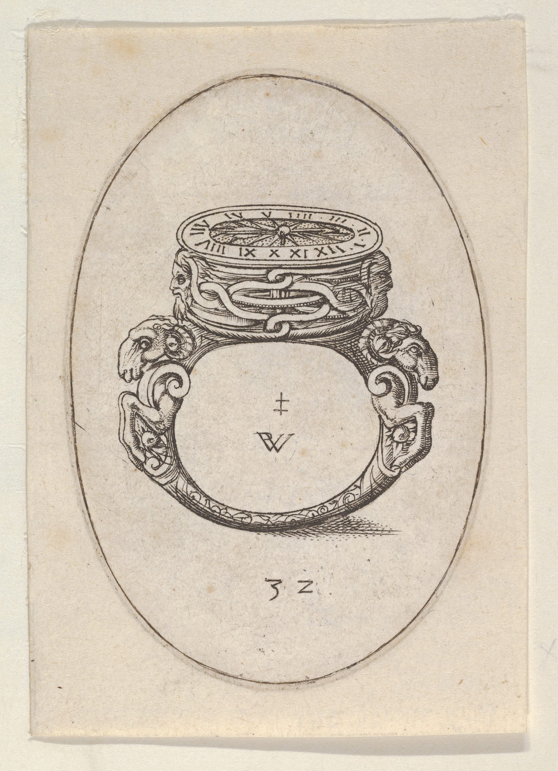 Design for a Ring Watch, from Livre dAneaux dOrfevrerie