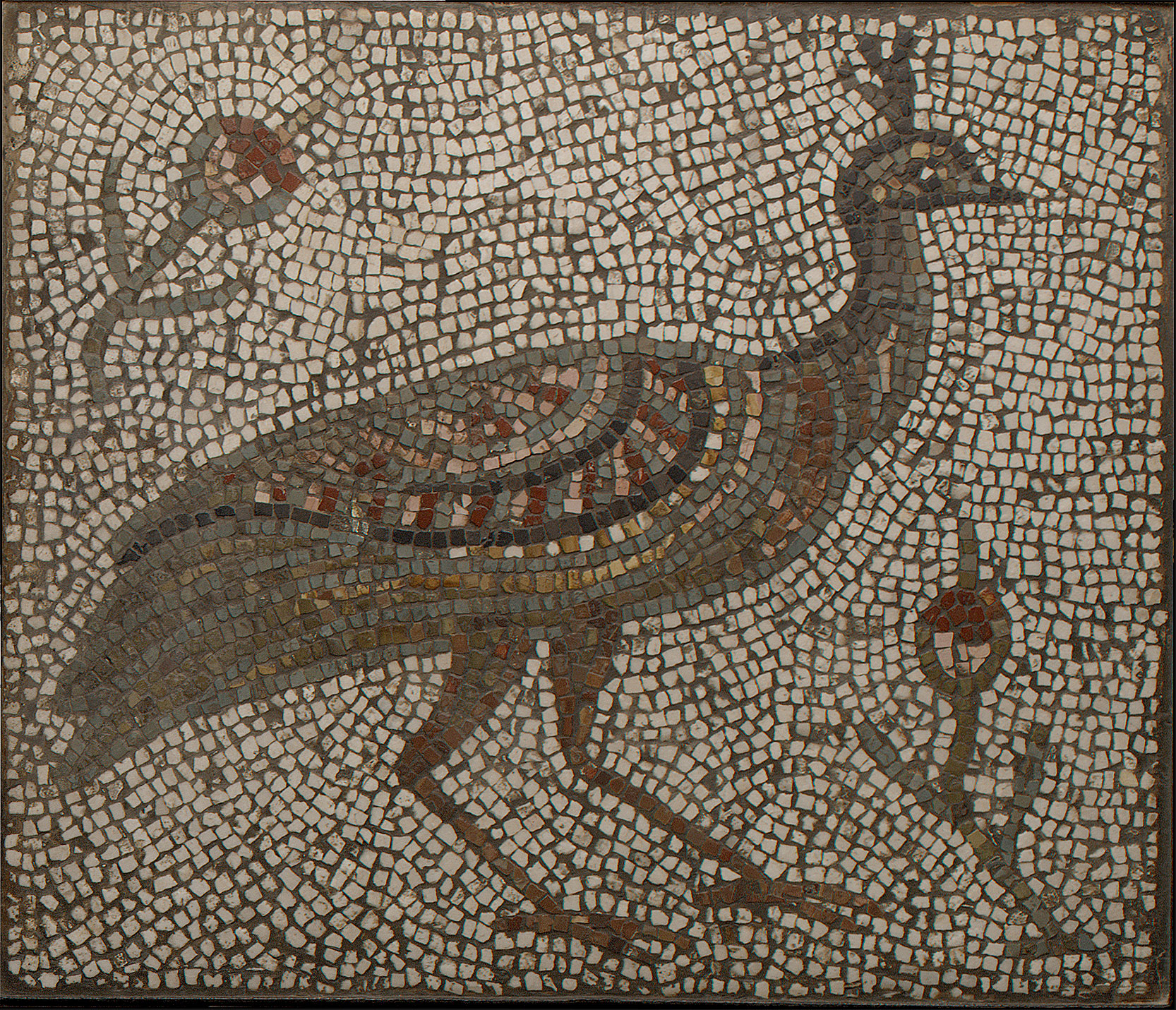 Mosaic with a Peacock and Flowers
