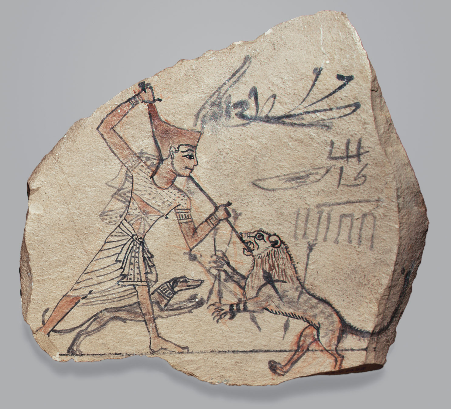 Artists Sketch of Pharaoh Spearing a Lion