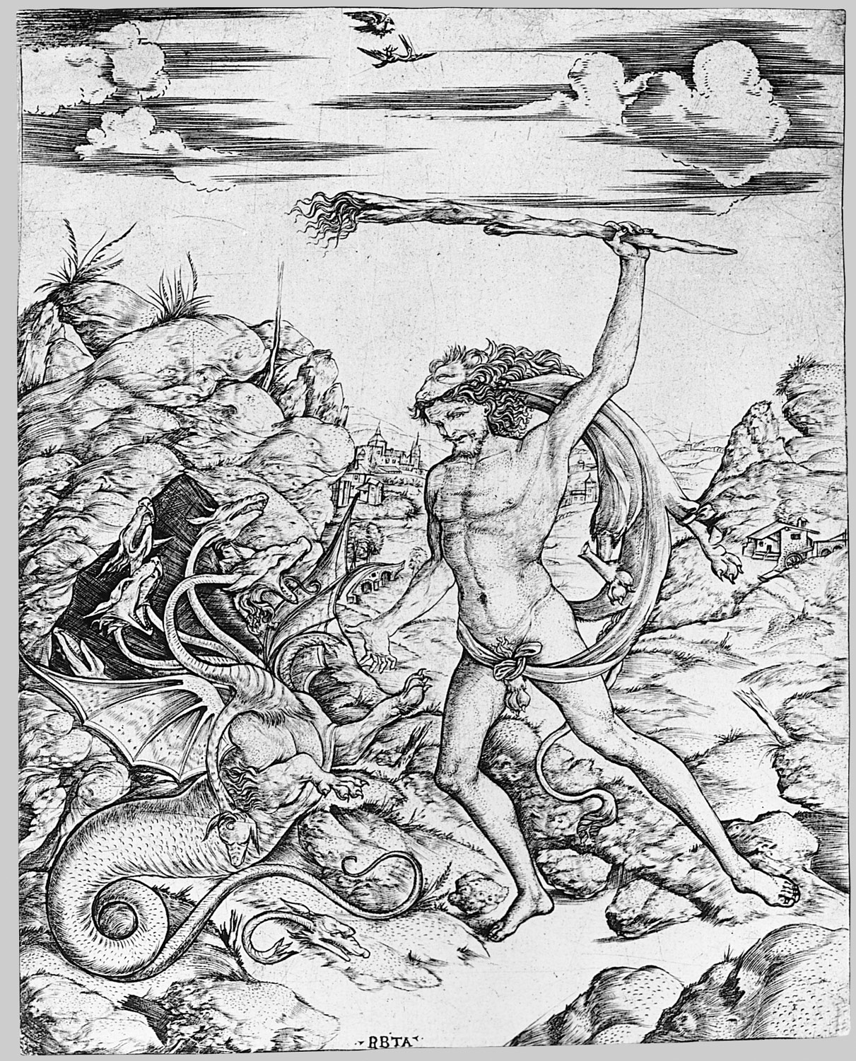 Hercules and the Hydra; wielding a torch he attacks the winged, multi-headed Hydra in rocky landscape, a hawk attacks a heron in the sky