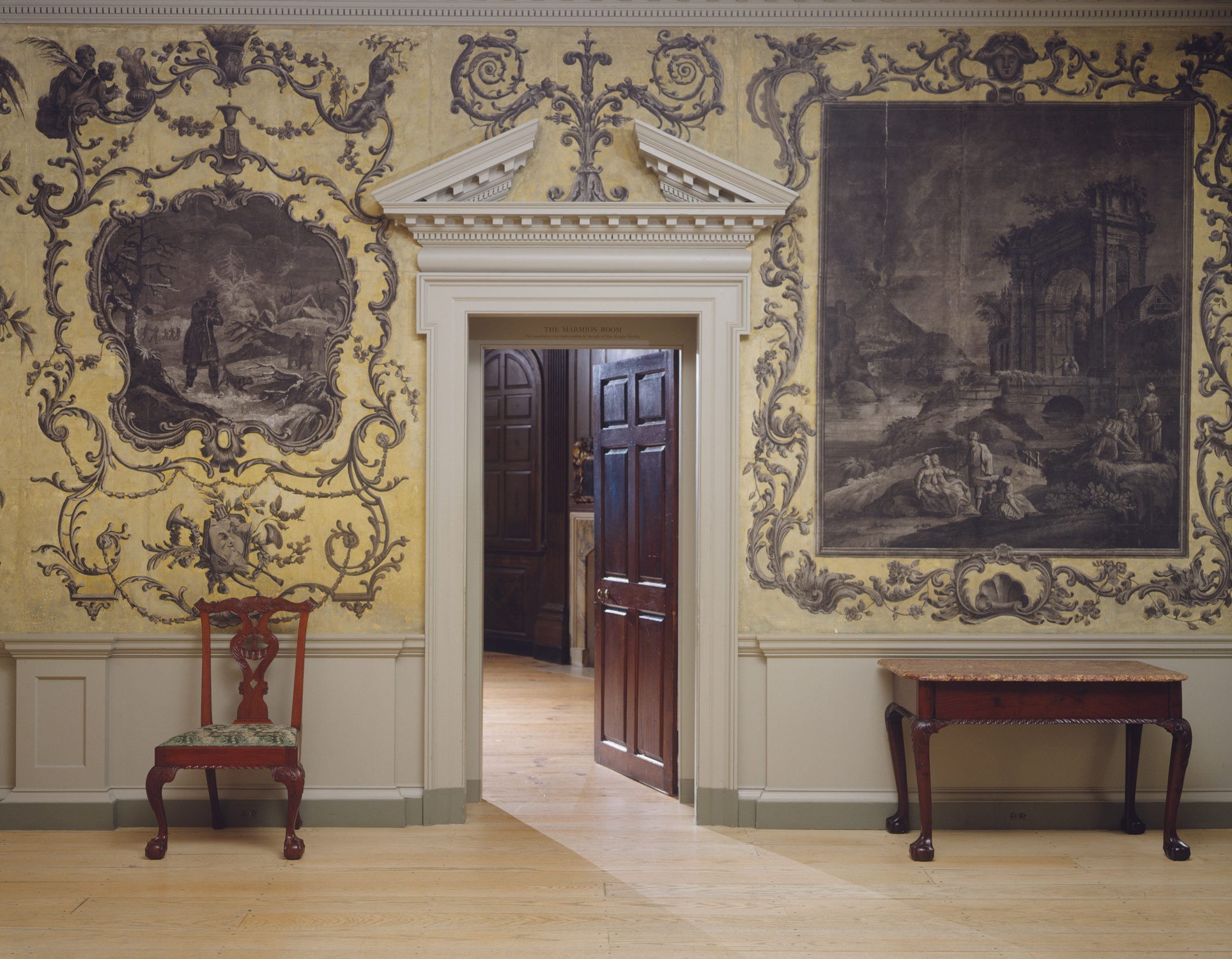 Woodwork and Wallpaper from the Great Hall of Van Rensselaer Manor House