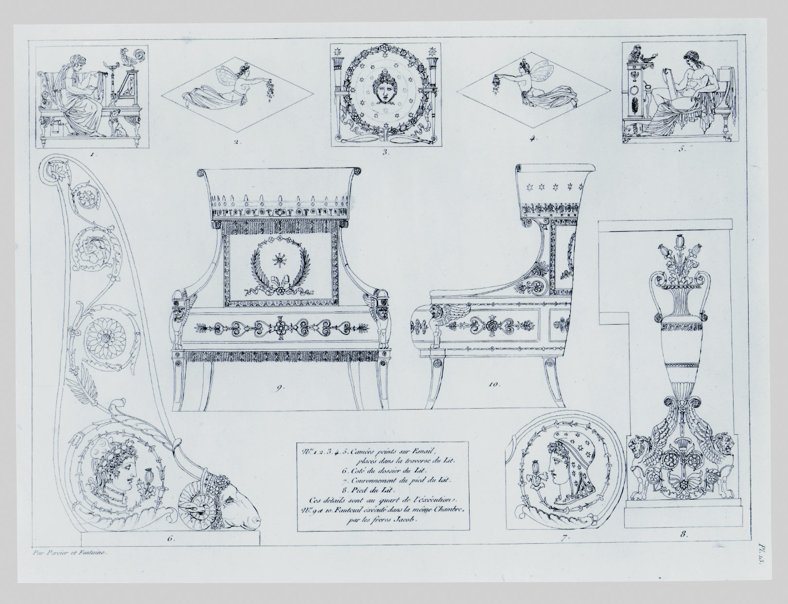 Design for the Scrolled End of a Bedstead: Plate 15 of Recueil de decorations interieures
