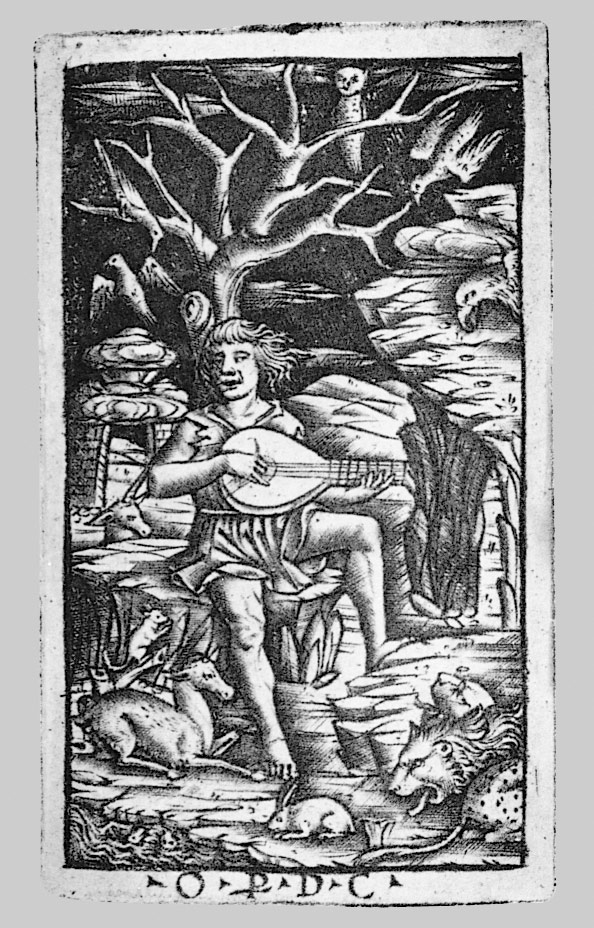 Orpheus seated and playing his lyre, charming the animals